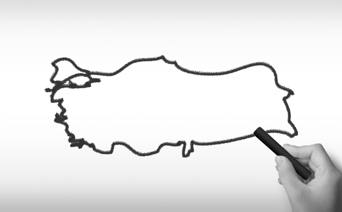 トルコ共和国の白地図イラスト