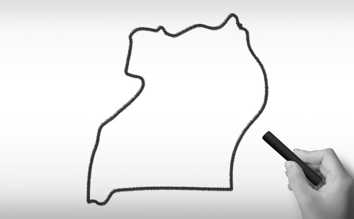ウガンダ共和国の白地図イラスト
