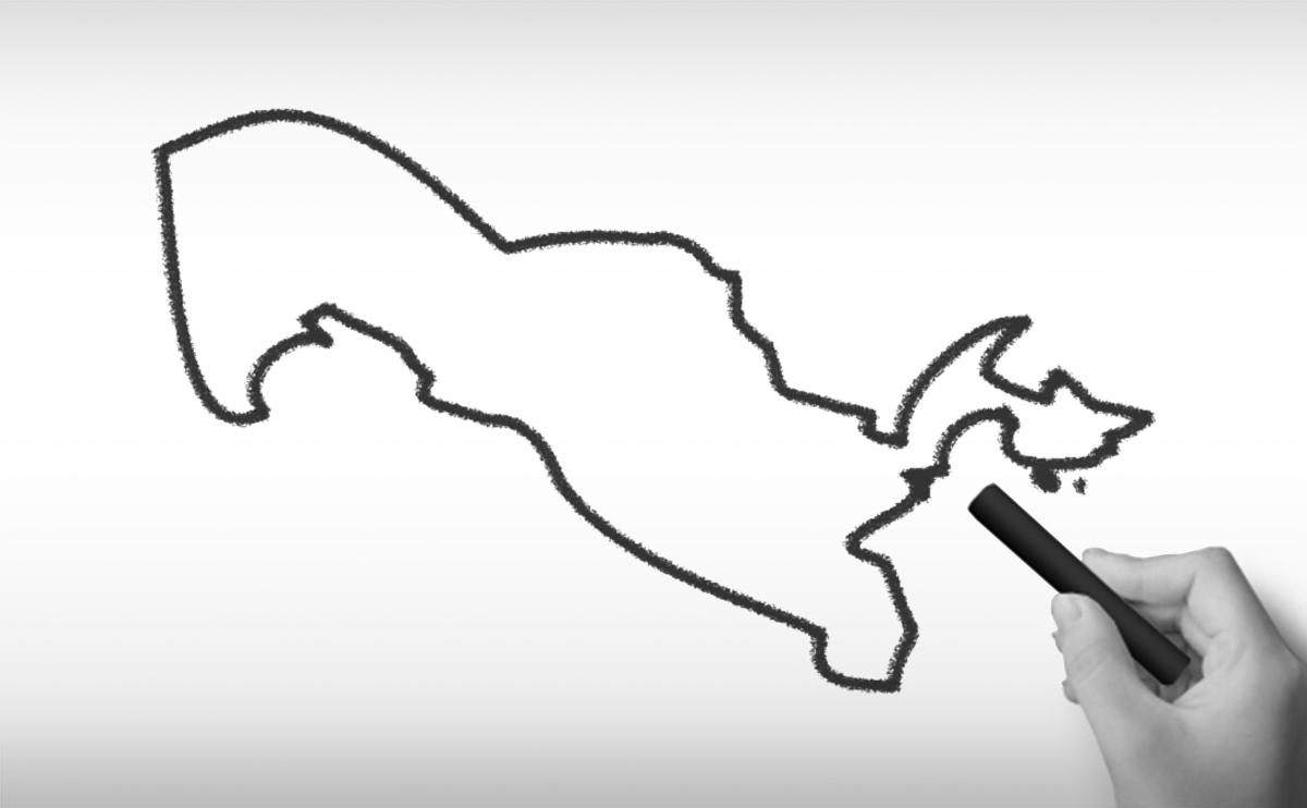 ウズベキスタン共和国の白地図イラスト
