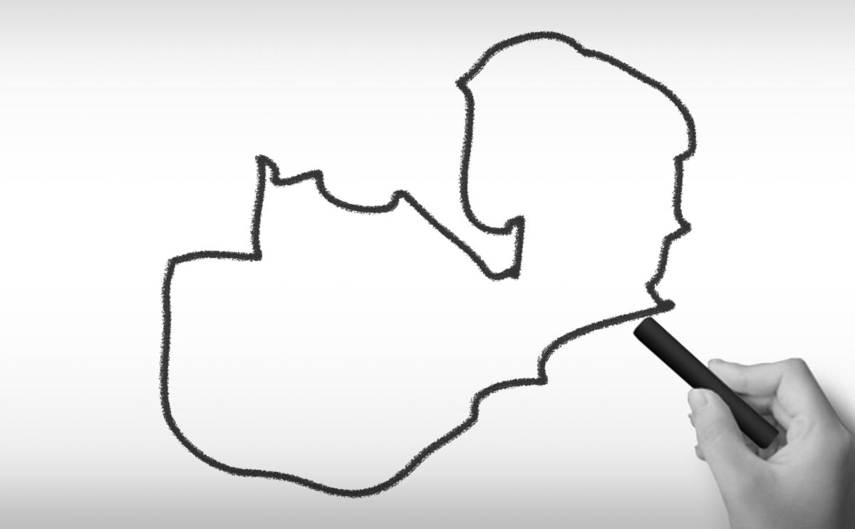 ザンビア共和国の白地図イラスト