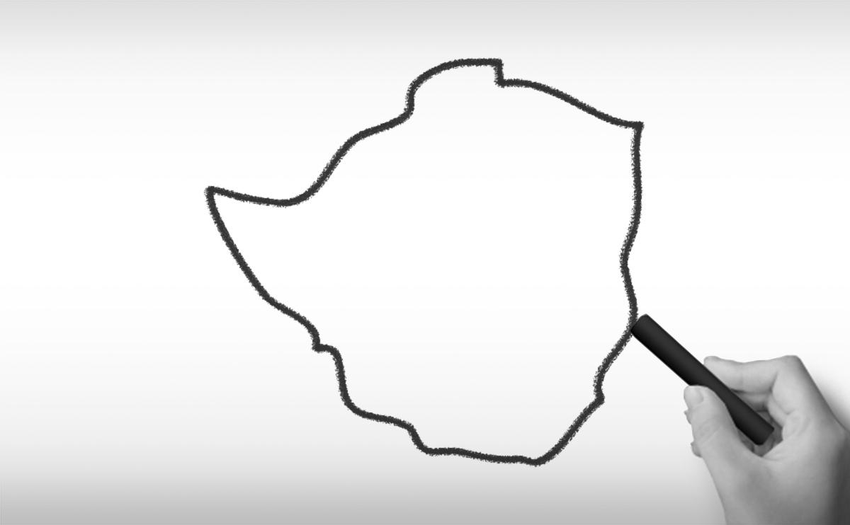 ジンバブエ共和国の白地図イラスト