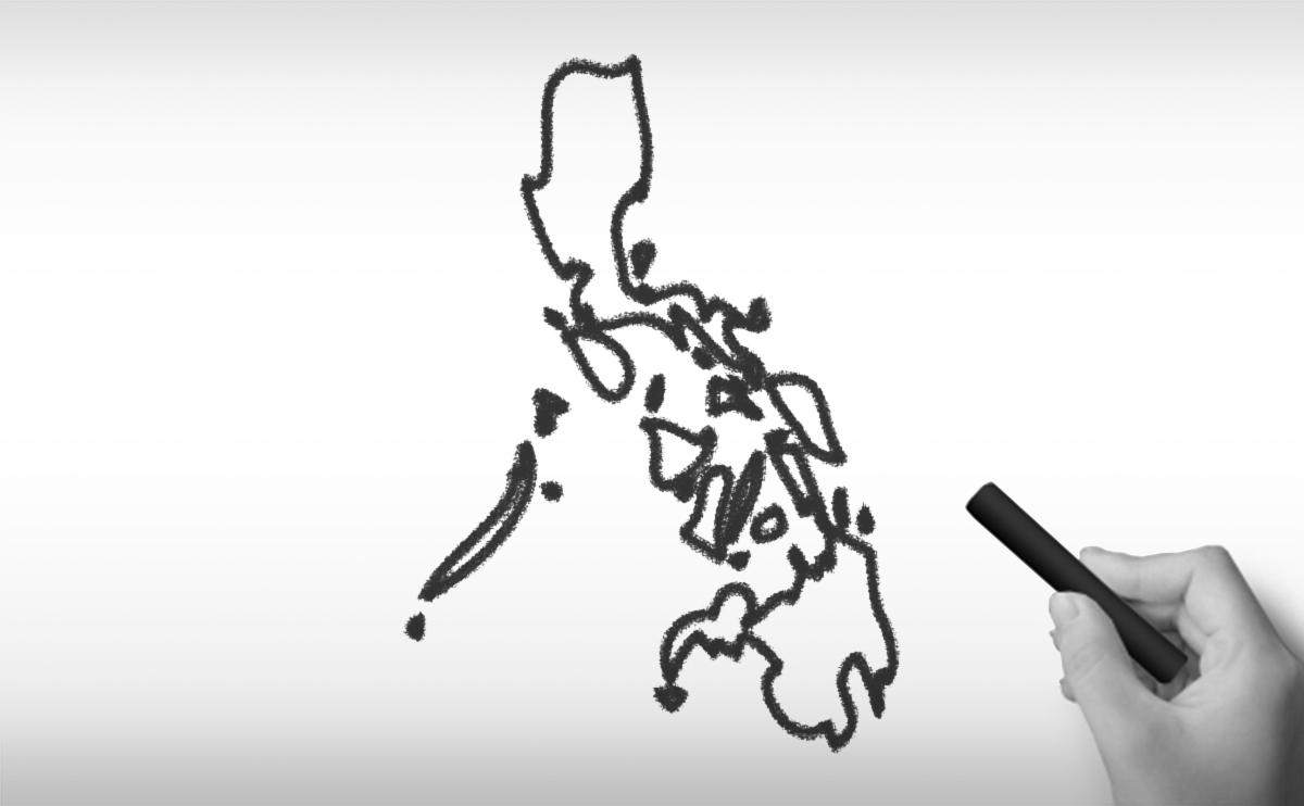フィリピン共和国の白地図イラスト