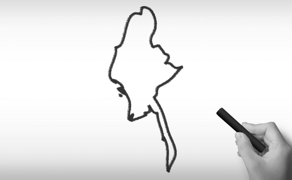 ミャンマー連邦共和国の白地図イラスト