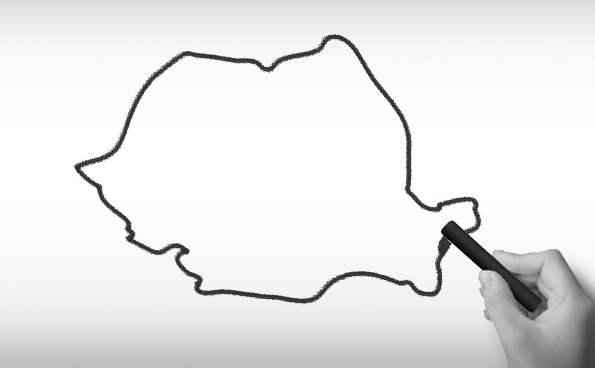 ルーマニアの白地図イラスト