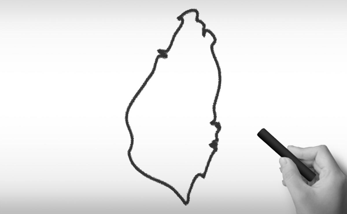 セントルシアの白地図イラスト
