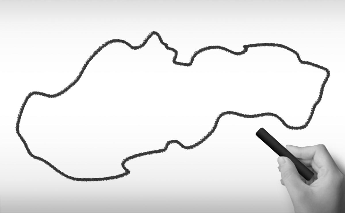 スロバキア共和国の白地図イラスト