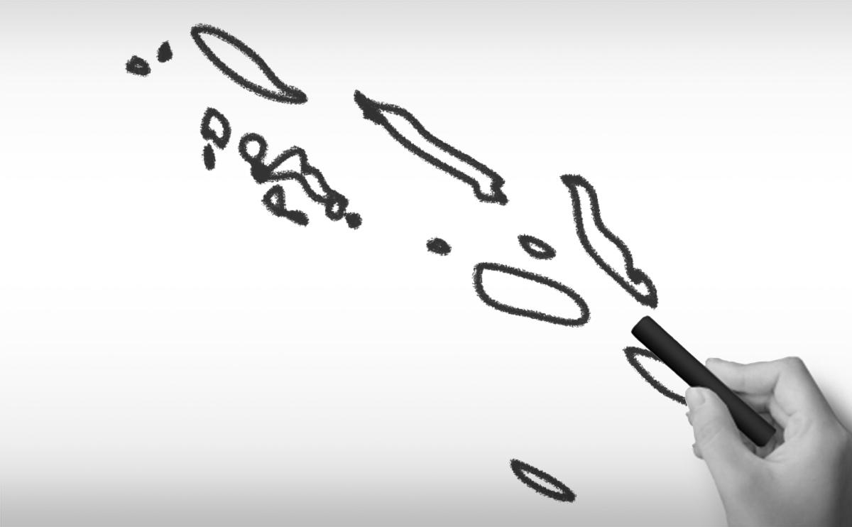 ソロモン諸島の白地図イラスト