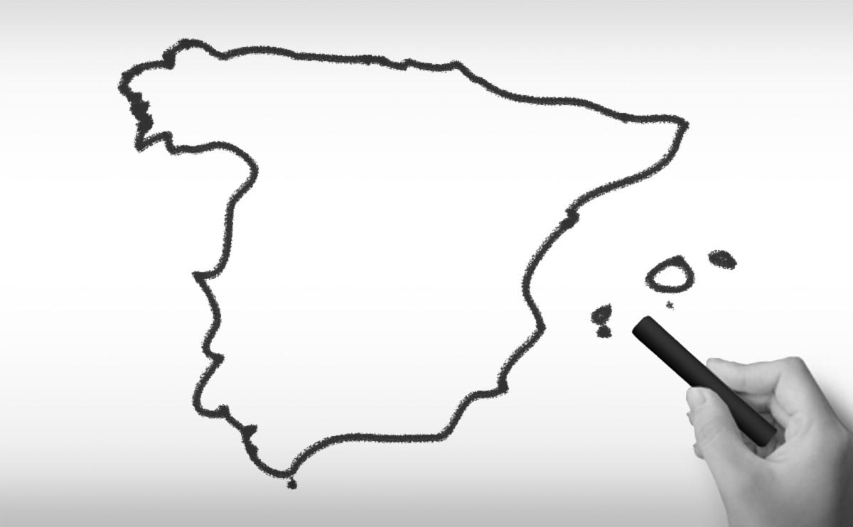 スペインの白地図イラスト