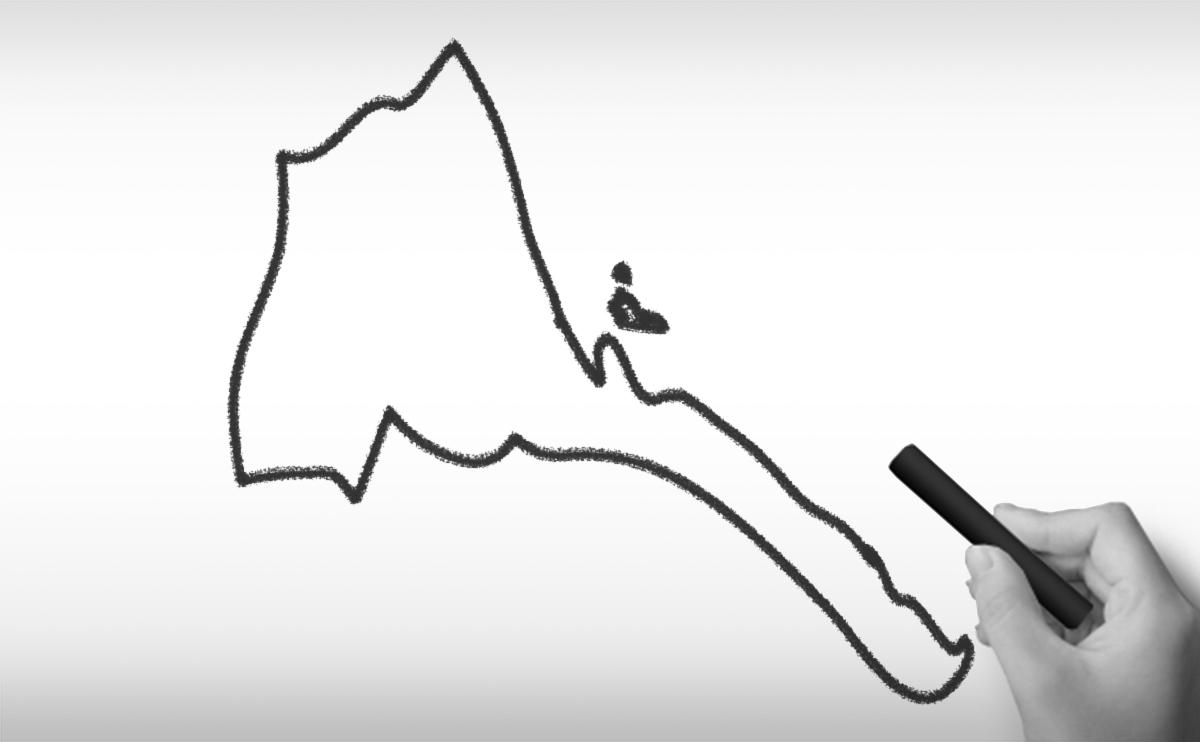 エリトリア国の白地図イラスト