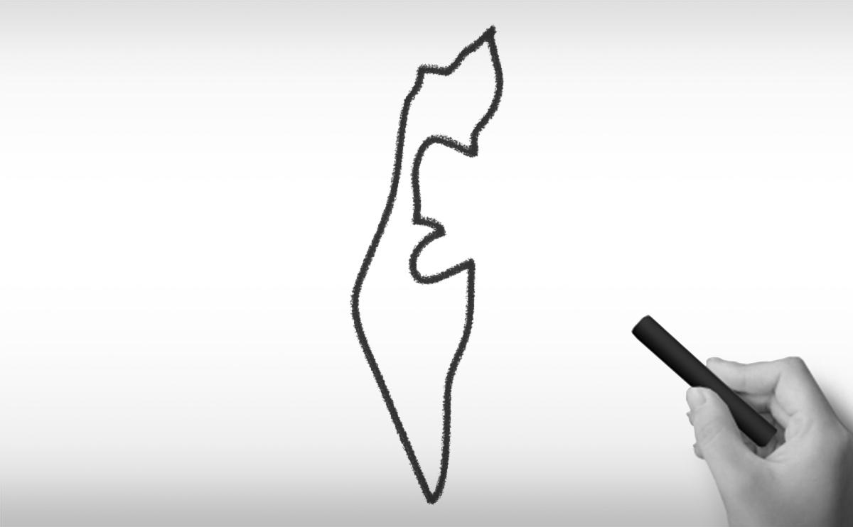 イスラエル国の白地図イラスト