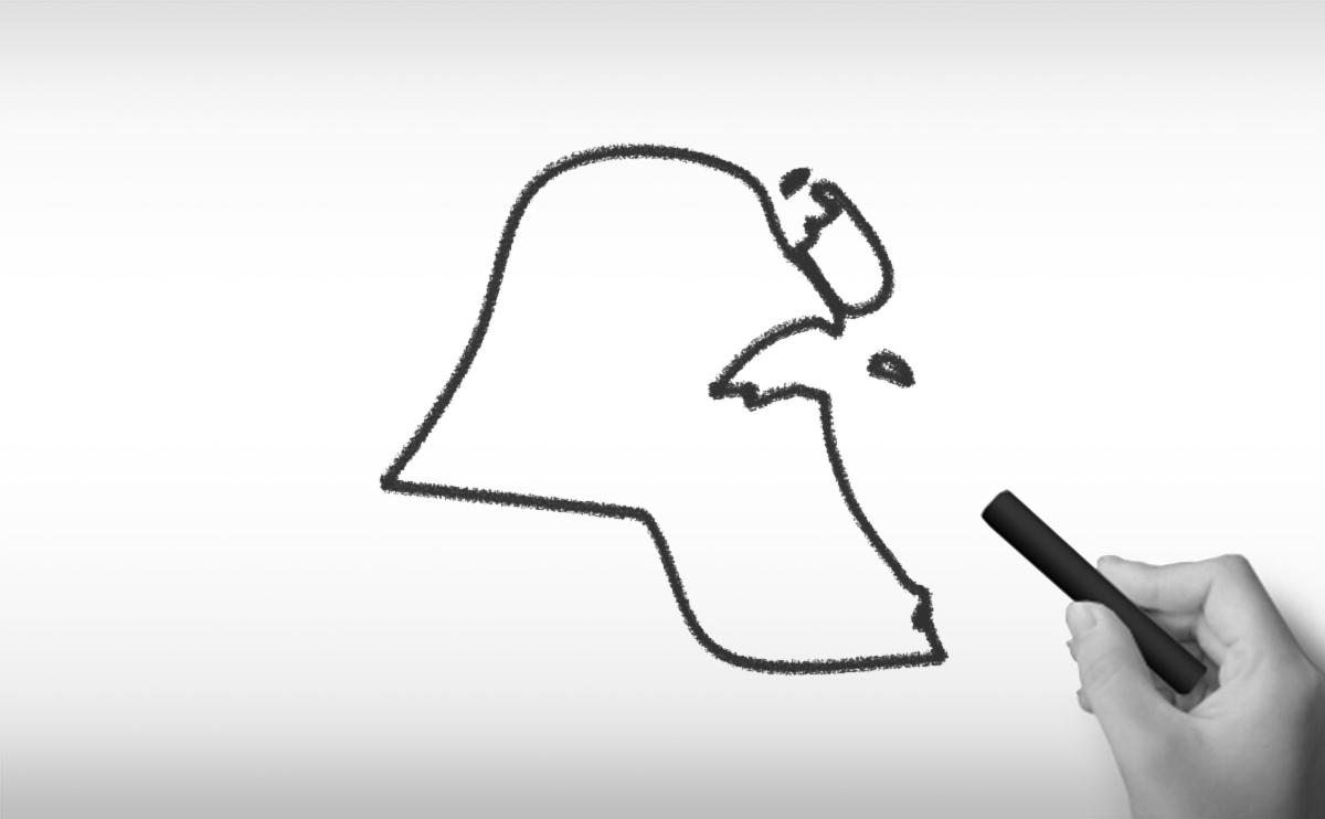 クウェート国の白地図イラスト