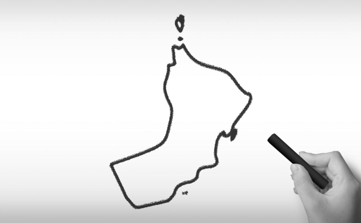 オマーン国の白地図イラスト
