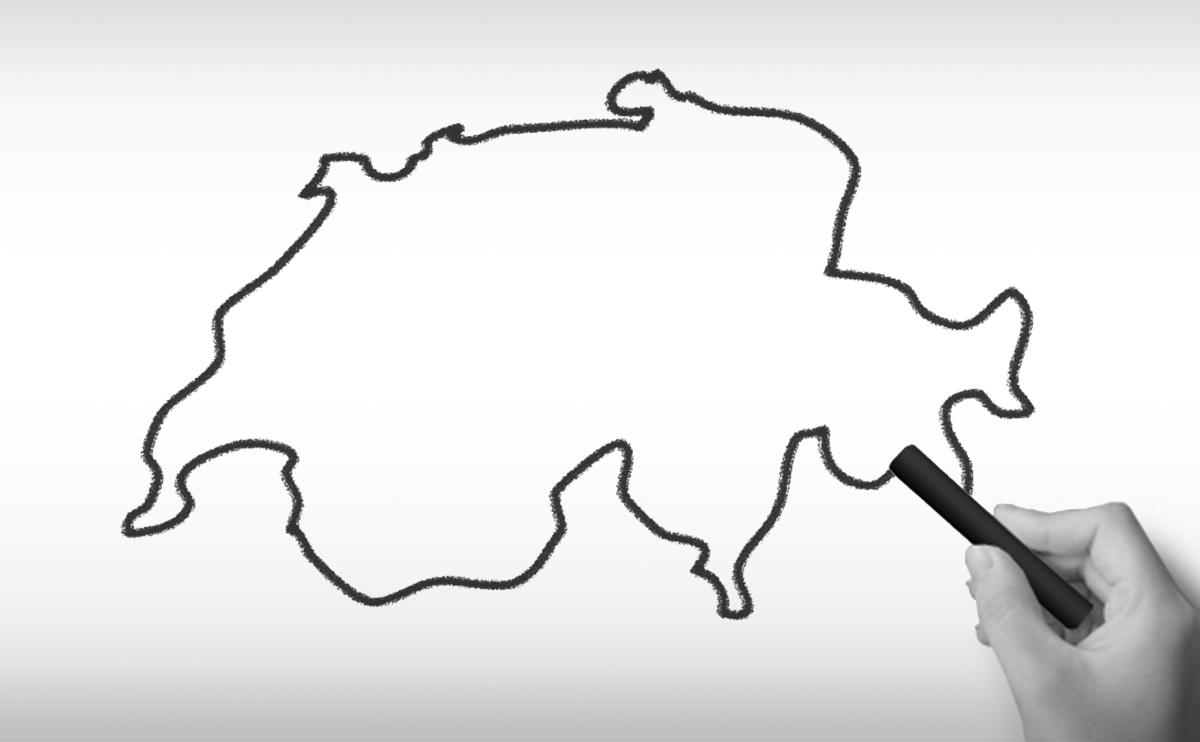 スイス連邦の白地図イラスト