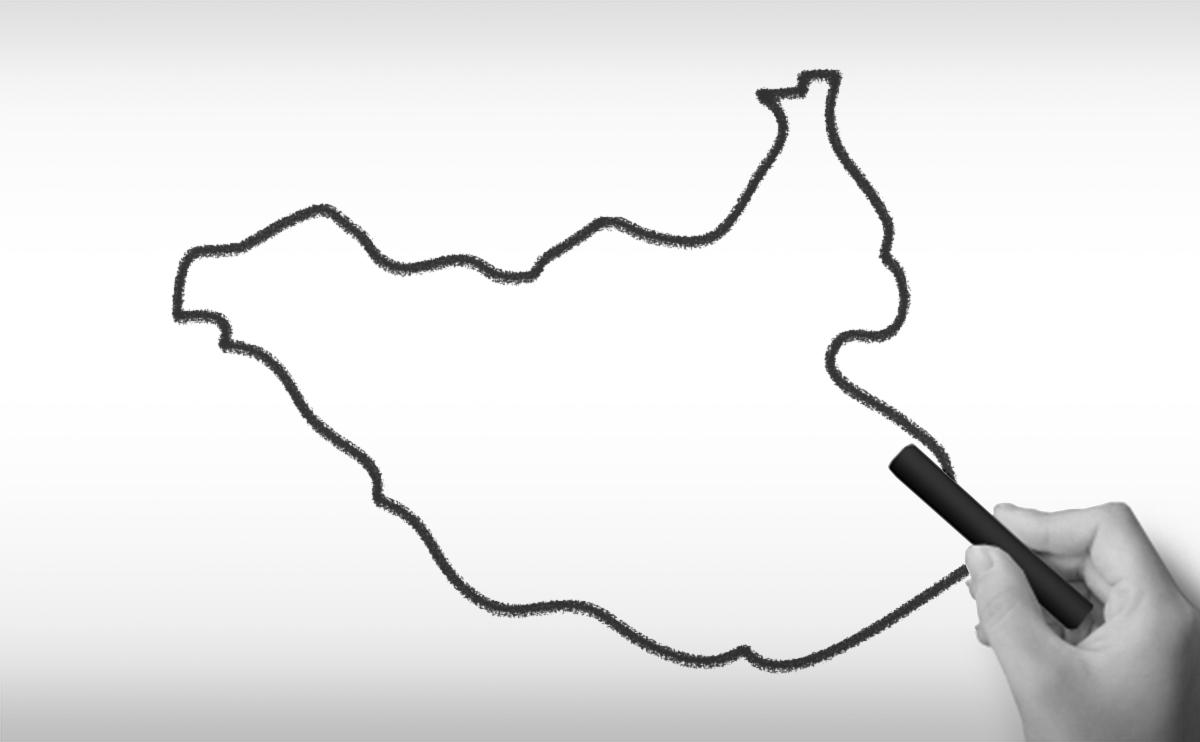南スーダン共和国の白地図イラスト