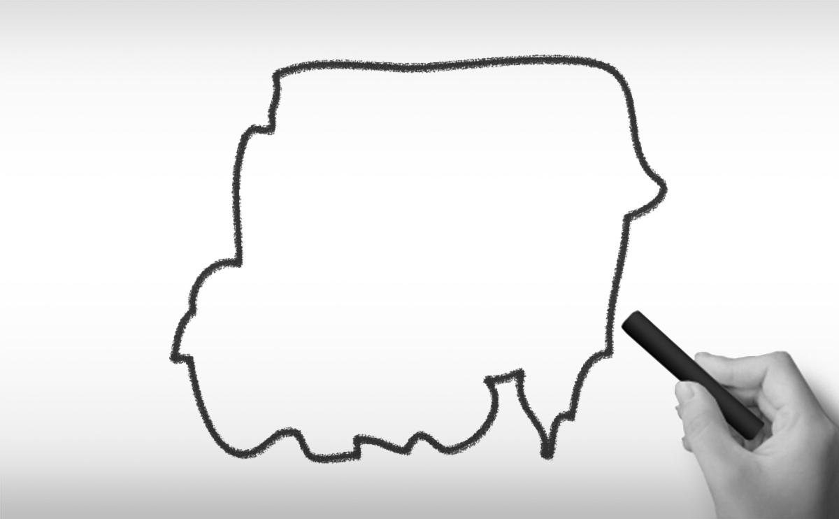 スーダン共和国の白地図イラスト