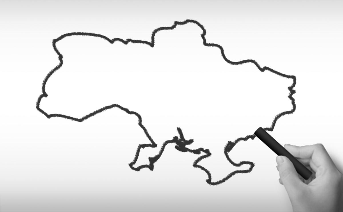 ウクライナの白地図イラスト