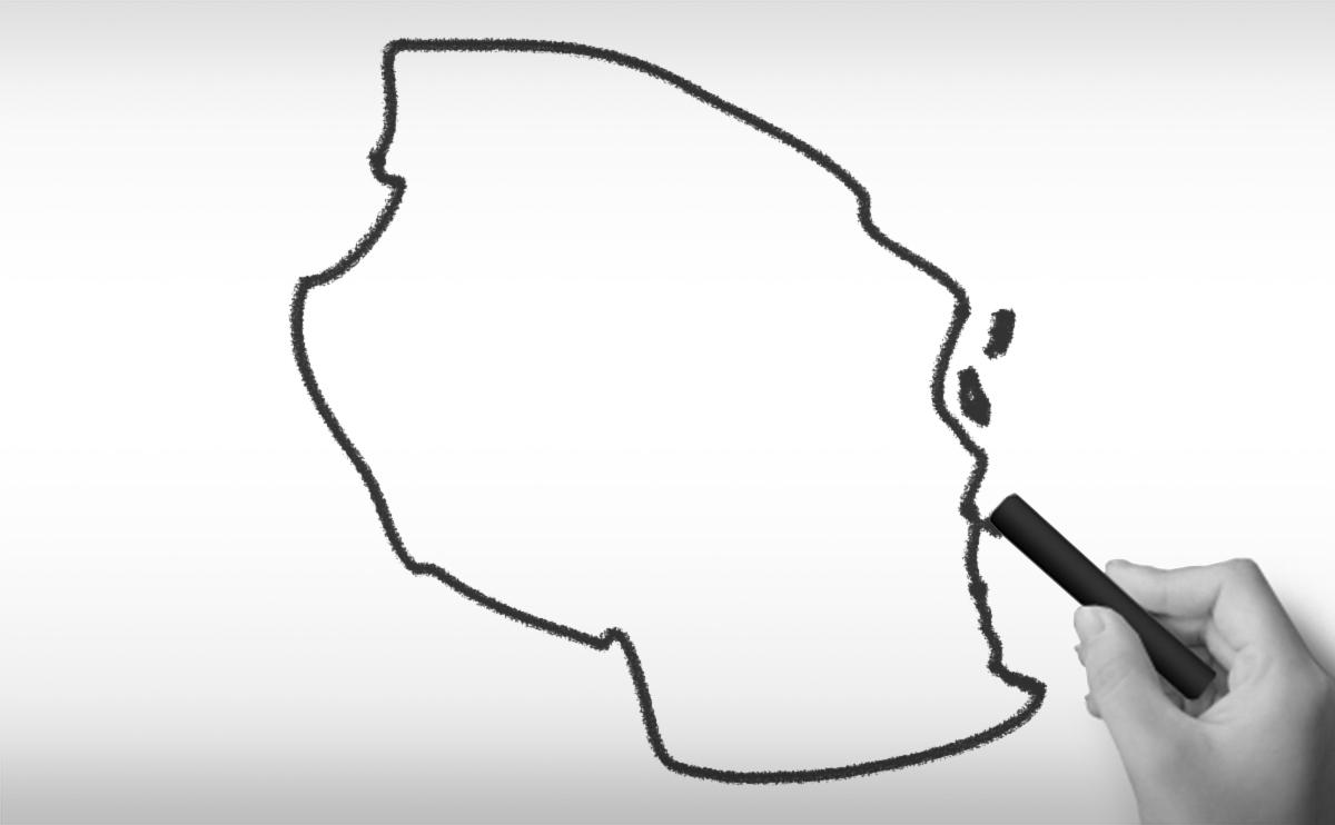 タンザニア連合共和国の白地図イラスト