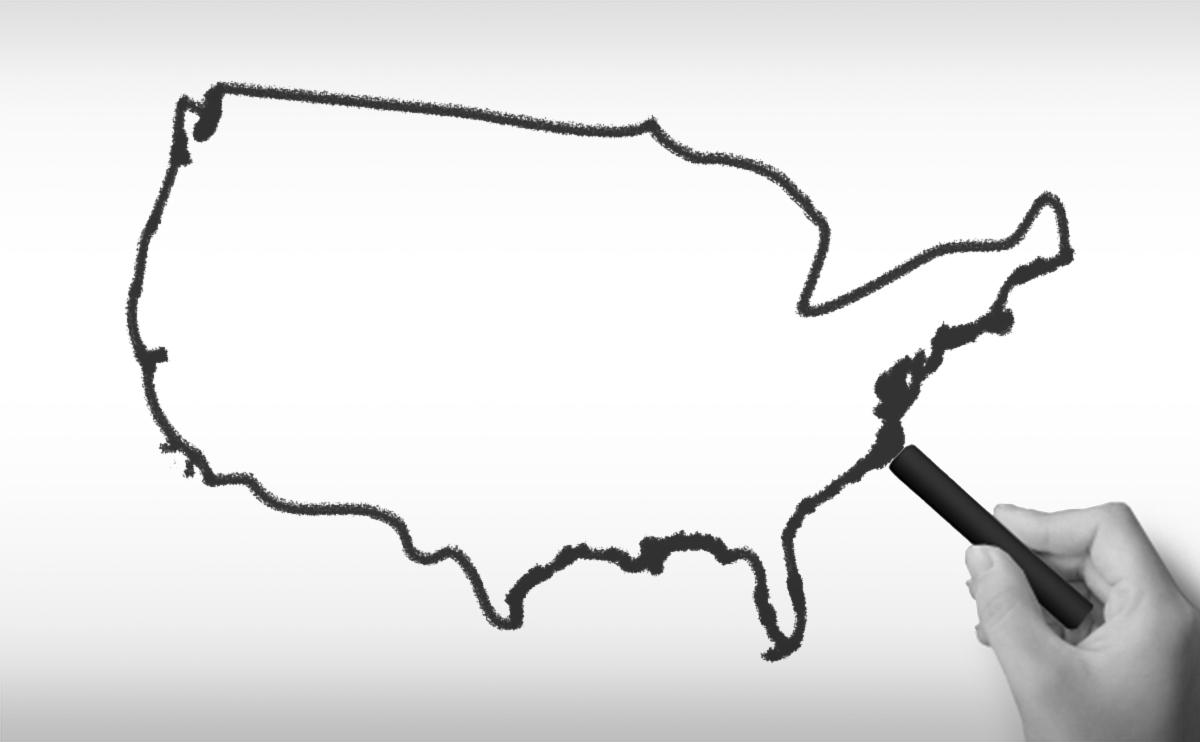 アメリカ合衆国の白地図イラスト