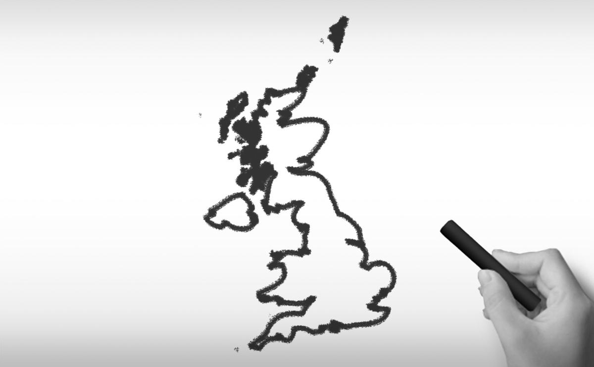 イギリスグレート・ブリテン及び北部アイルランド連合王国の白地図イラスト
