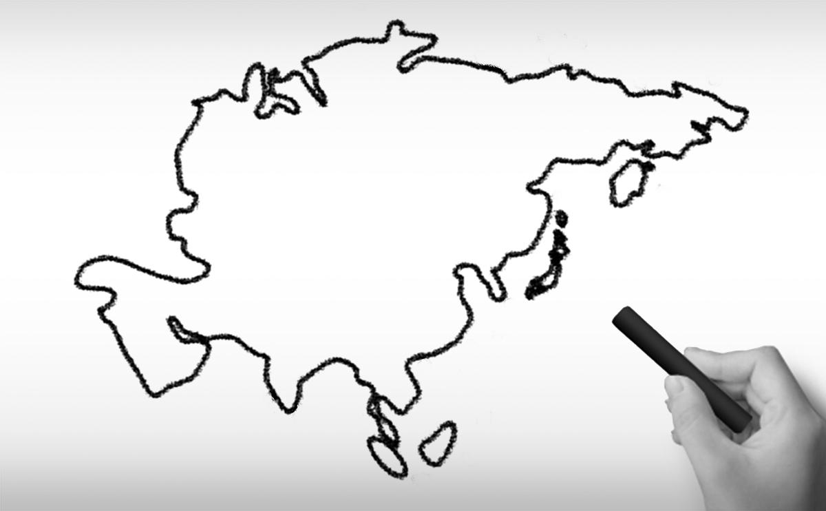 アジア大陸の白地図イラスト(国名入り・首都名入り)を無料ダウンロード