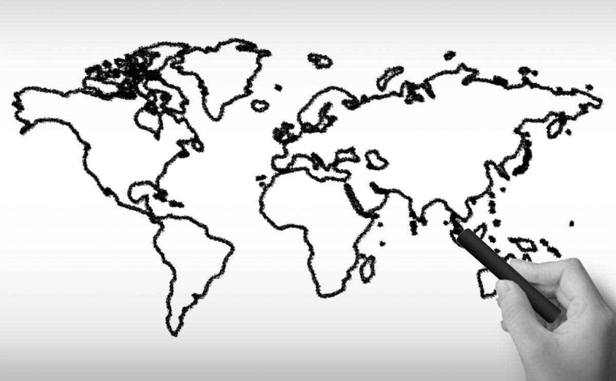 世界地図全域の白地図イラスト