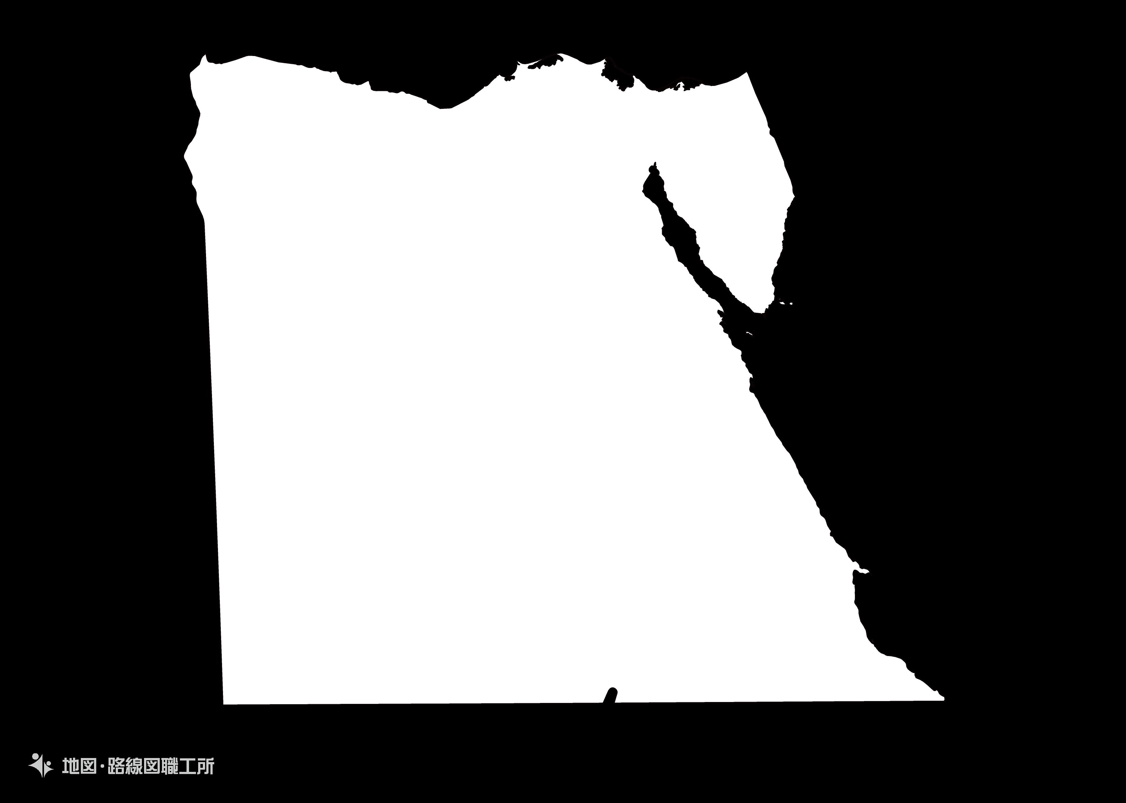 世界の白地図 エジプト・アラブ共和国 arab-republic-of-egypt map