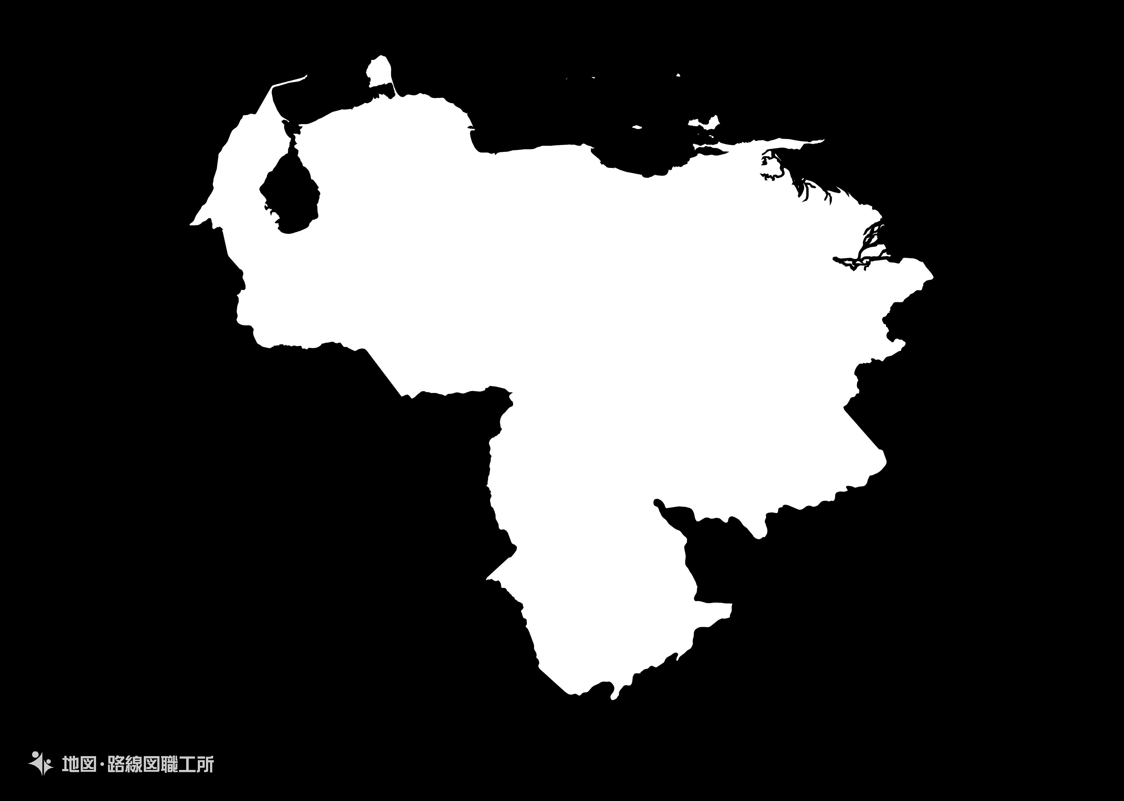 世界の白地図 ベネズエラ・ボリバル共和国 bolivarian-republic-of-venezuela map