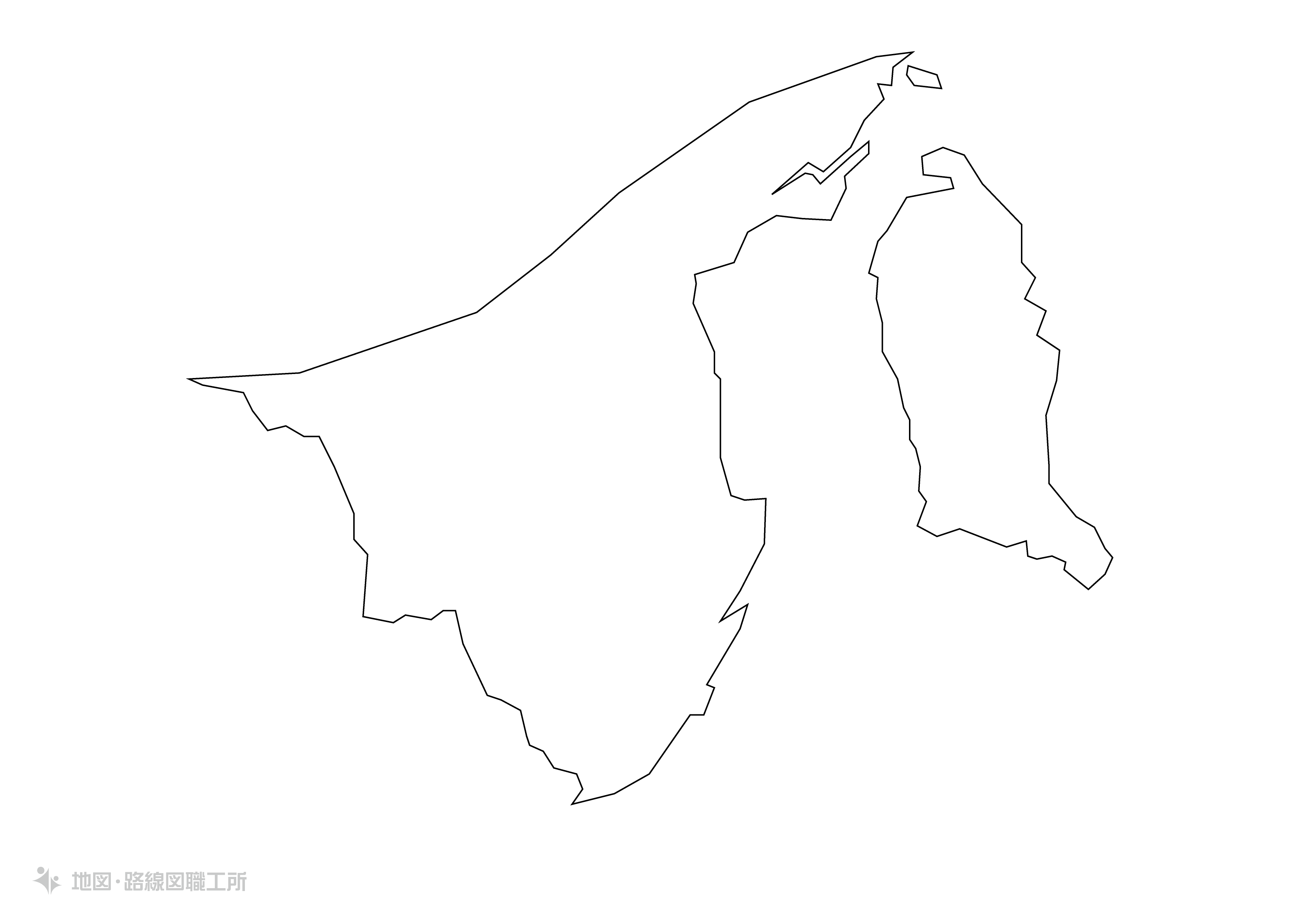 世界の白地図 ブルネイ・ダルサラーム国 brunei-darussalam map