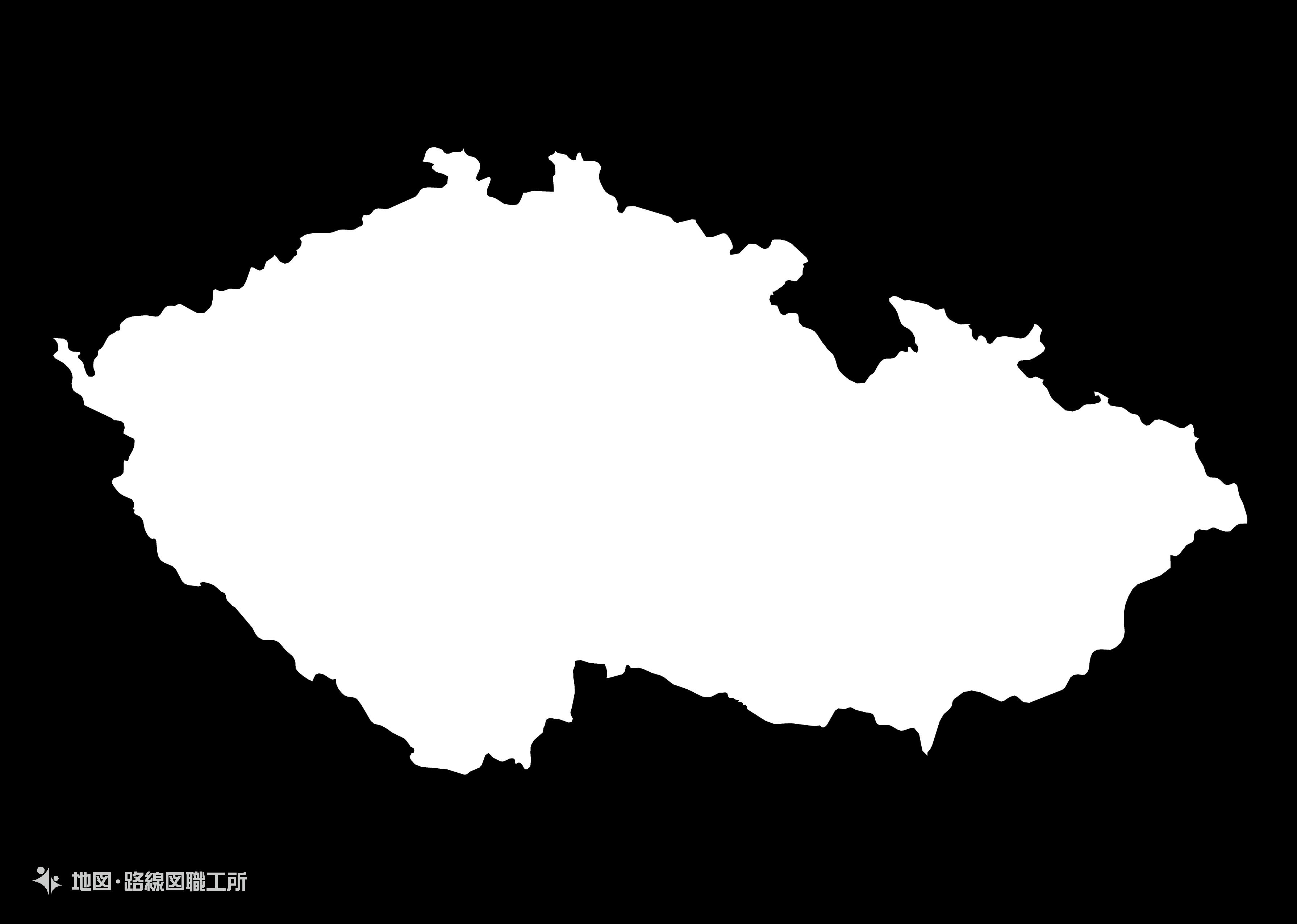 世界の白地図 チェコ共和国 czech-republic map