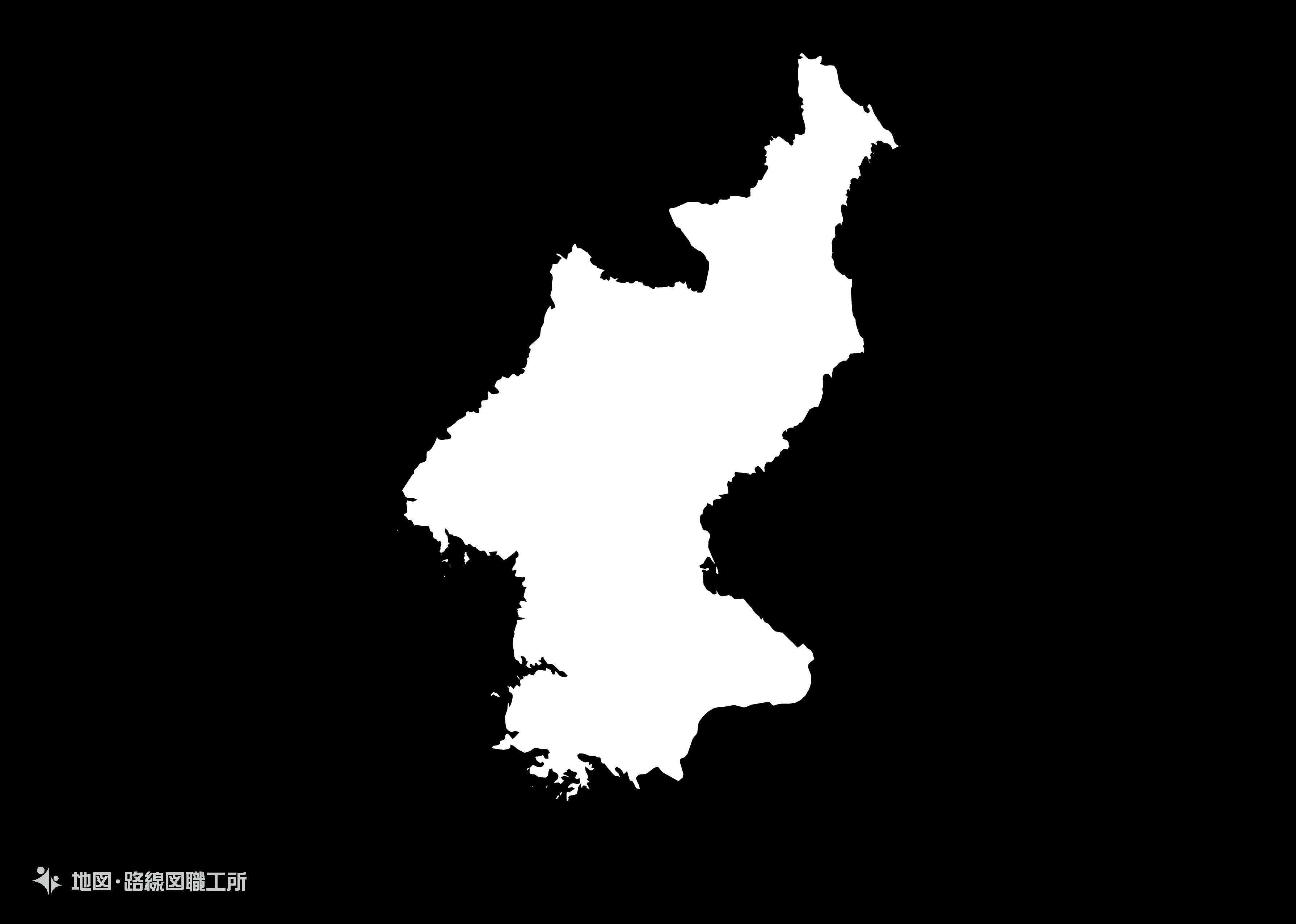 世界の白地図 朝鮮民主主義人民共和国 democratic-peoples-republic-of-korea map