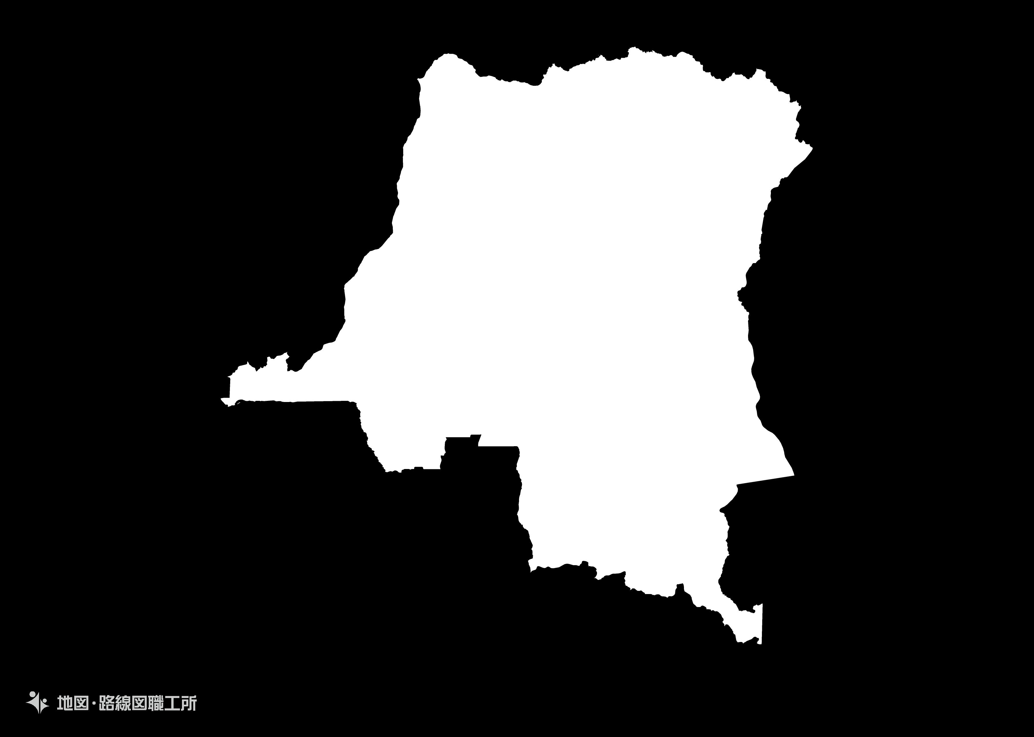 世界の白地図 コンゴ民主共和国 democratic-republic-of-the-congo map