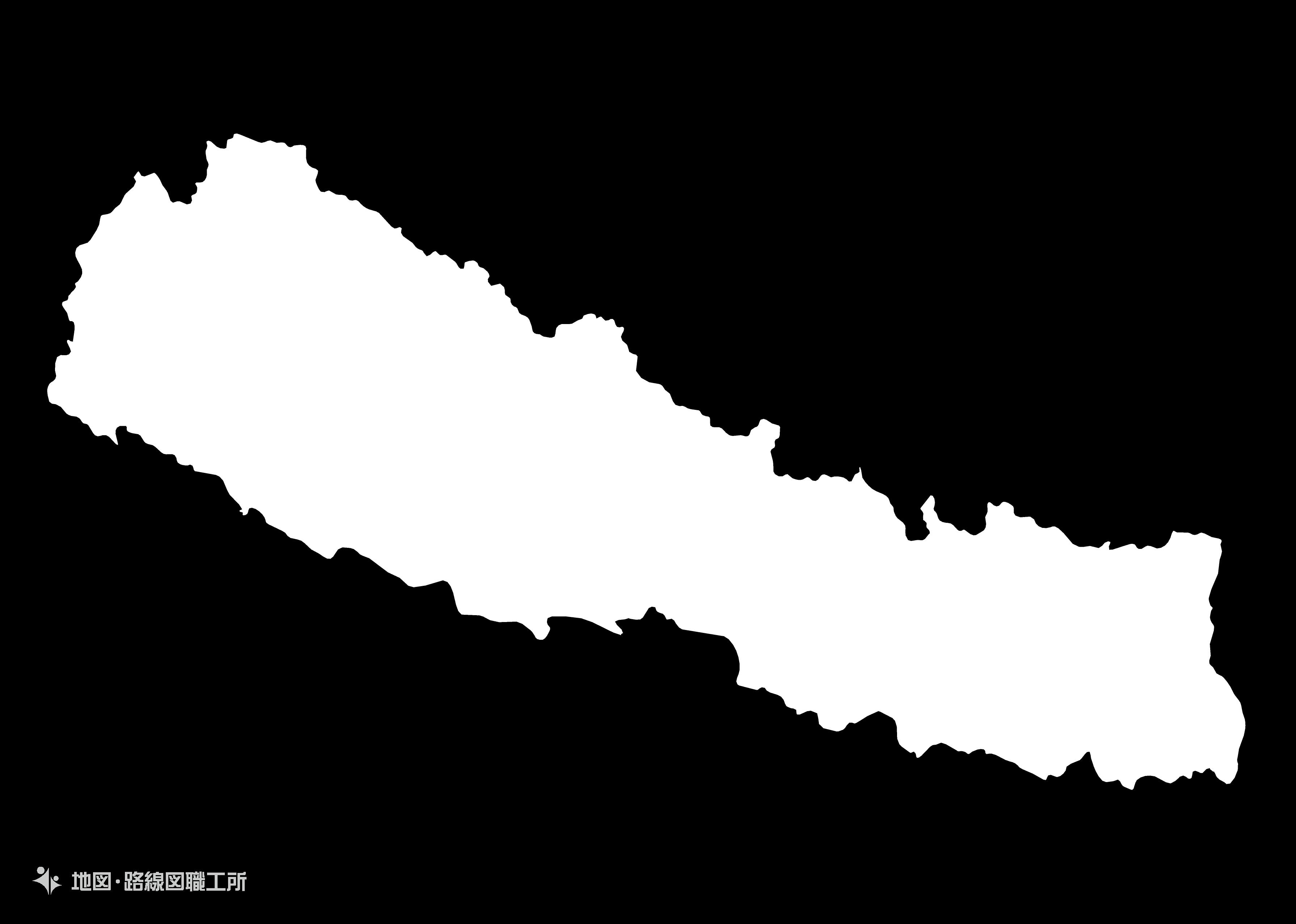 世界の白地図 ネパール連邦民主共和国 federal-democratic-republic-of-nepal map