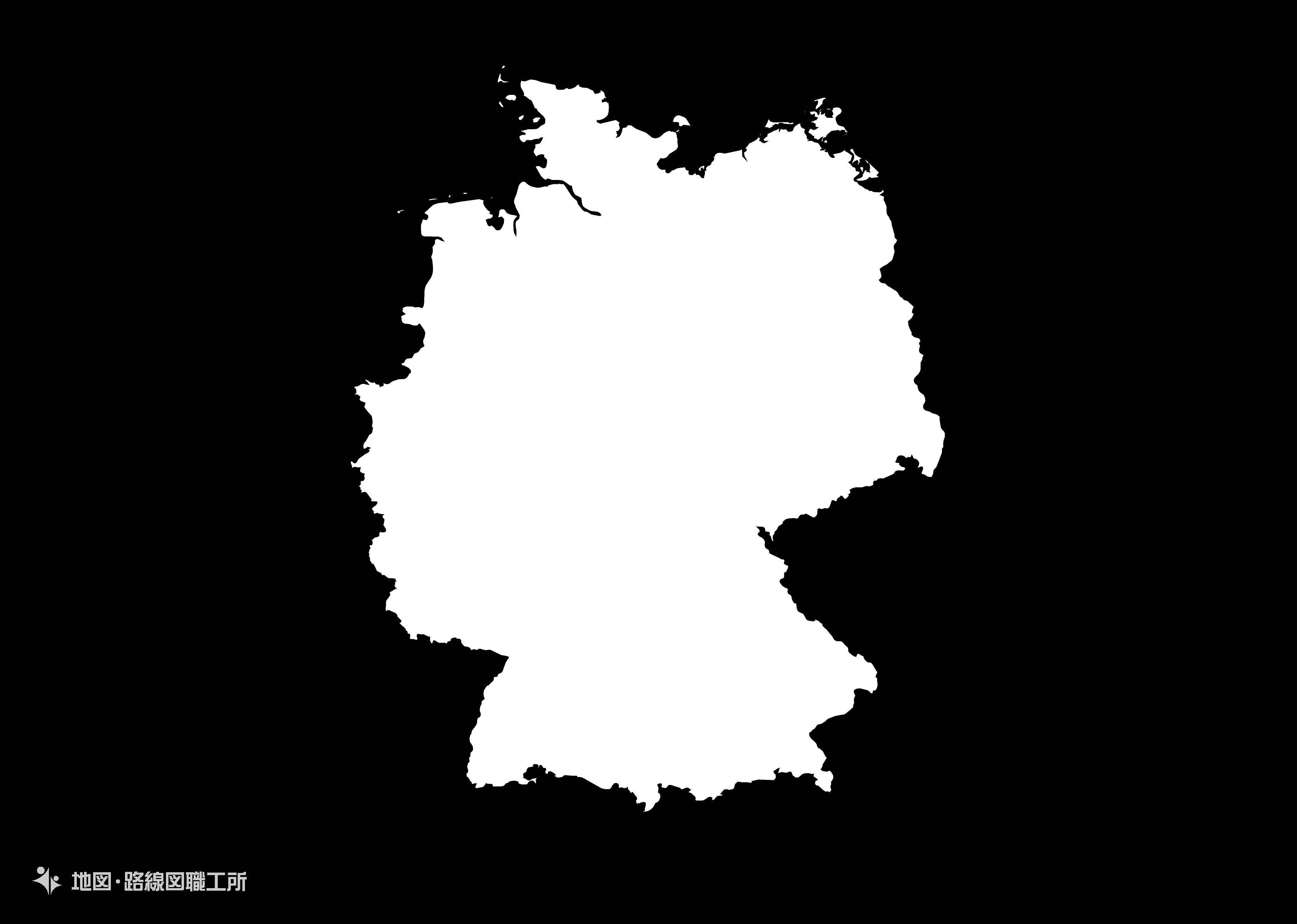 世界の白地図 ドイツ連邦共和国 federal-republic-of-germany map