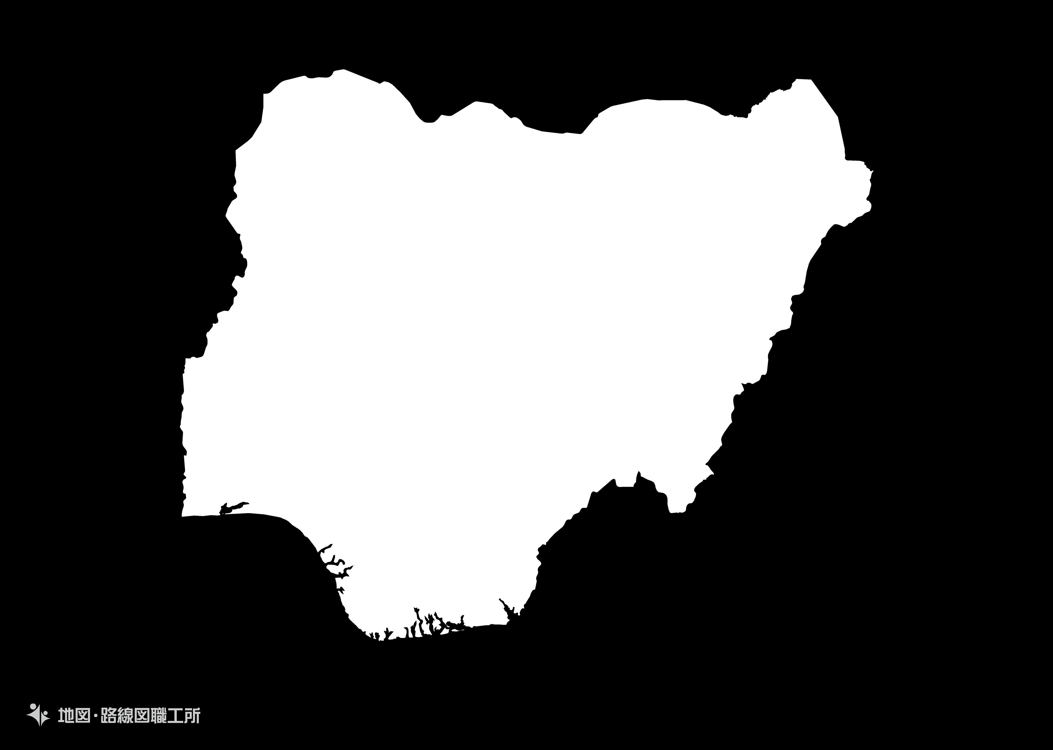 世界の白地図 ナイジェリア連邦共和国 federal-republic-of-nigeria map