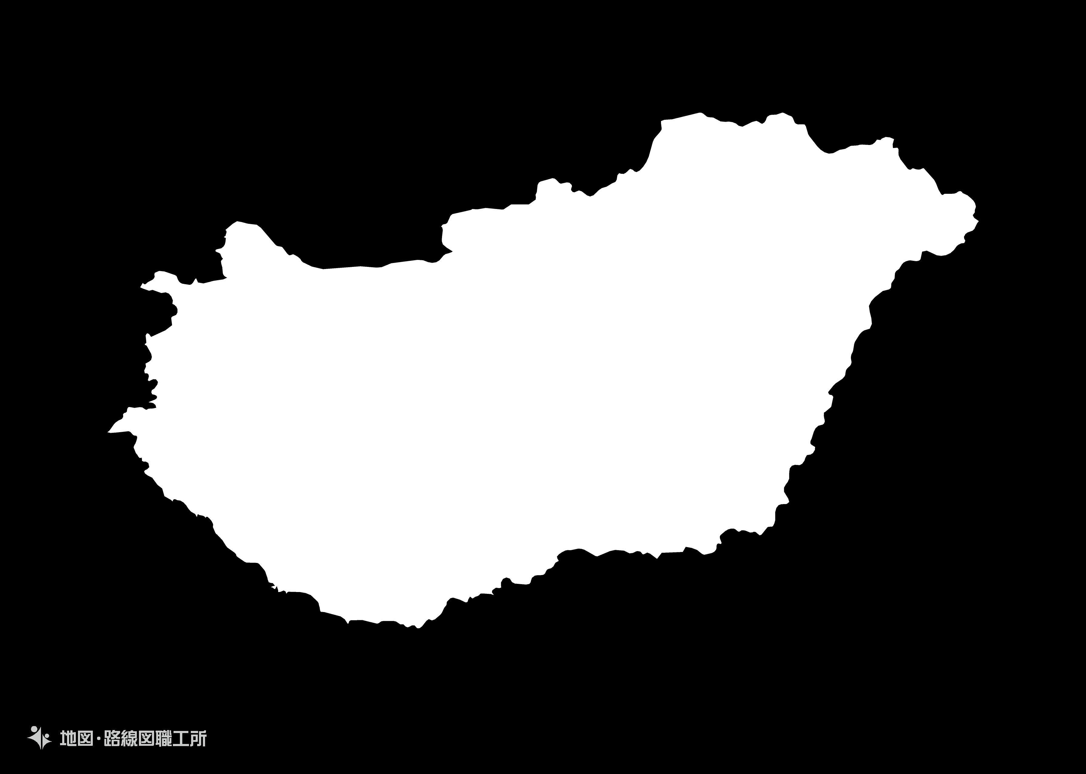 世界の白地図 ハンガリー hungary map