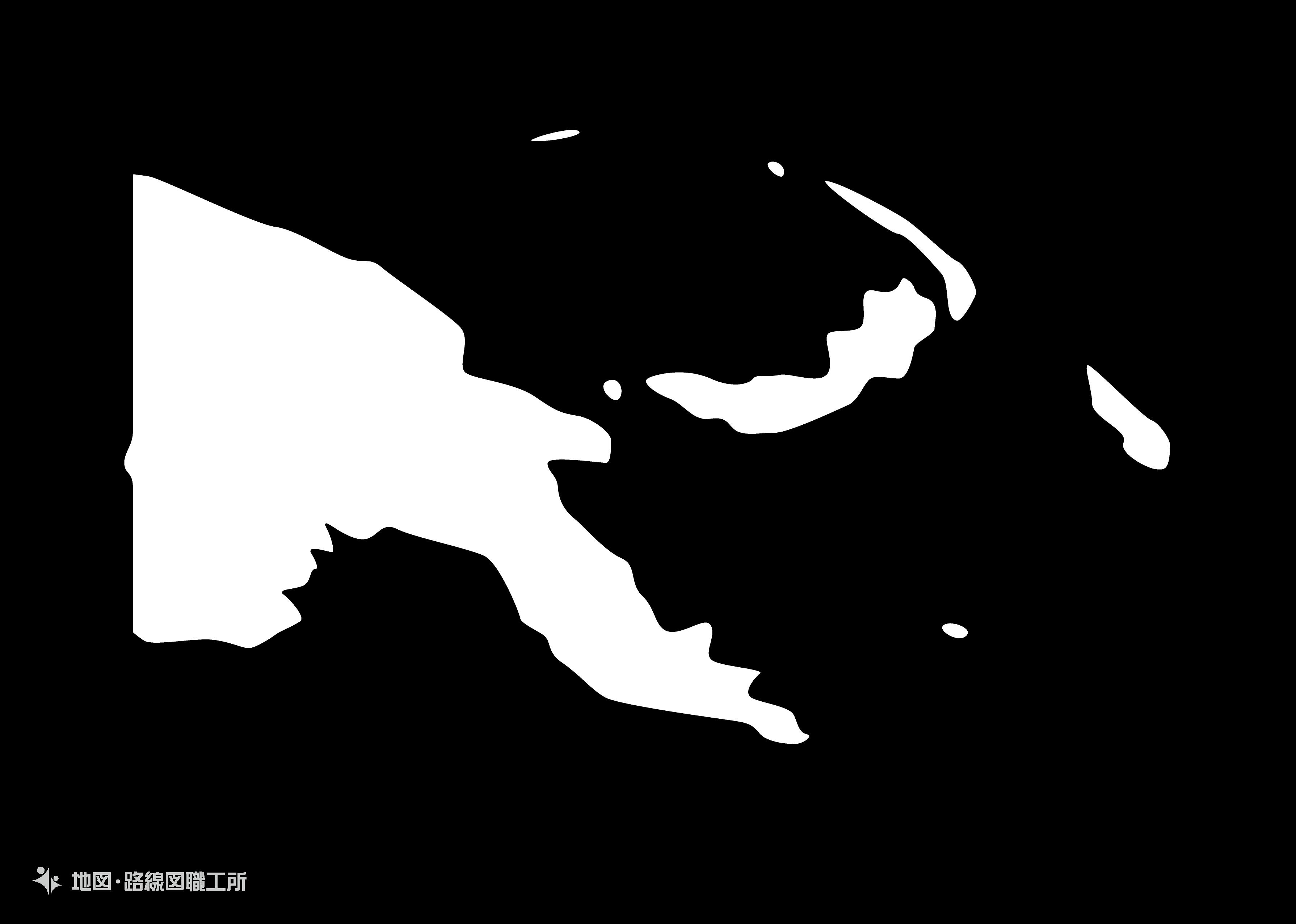 世界の白地図 パプアニューギニア独立国 independent-state-of-papua-new-guinea map