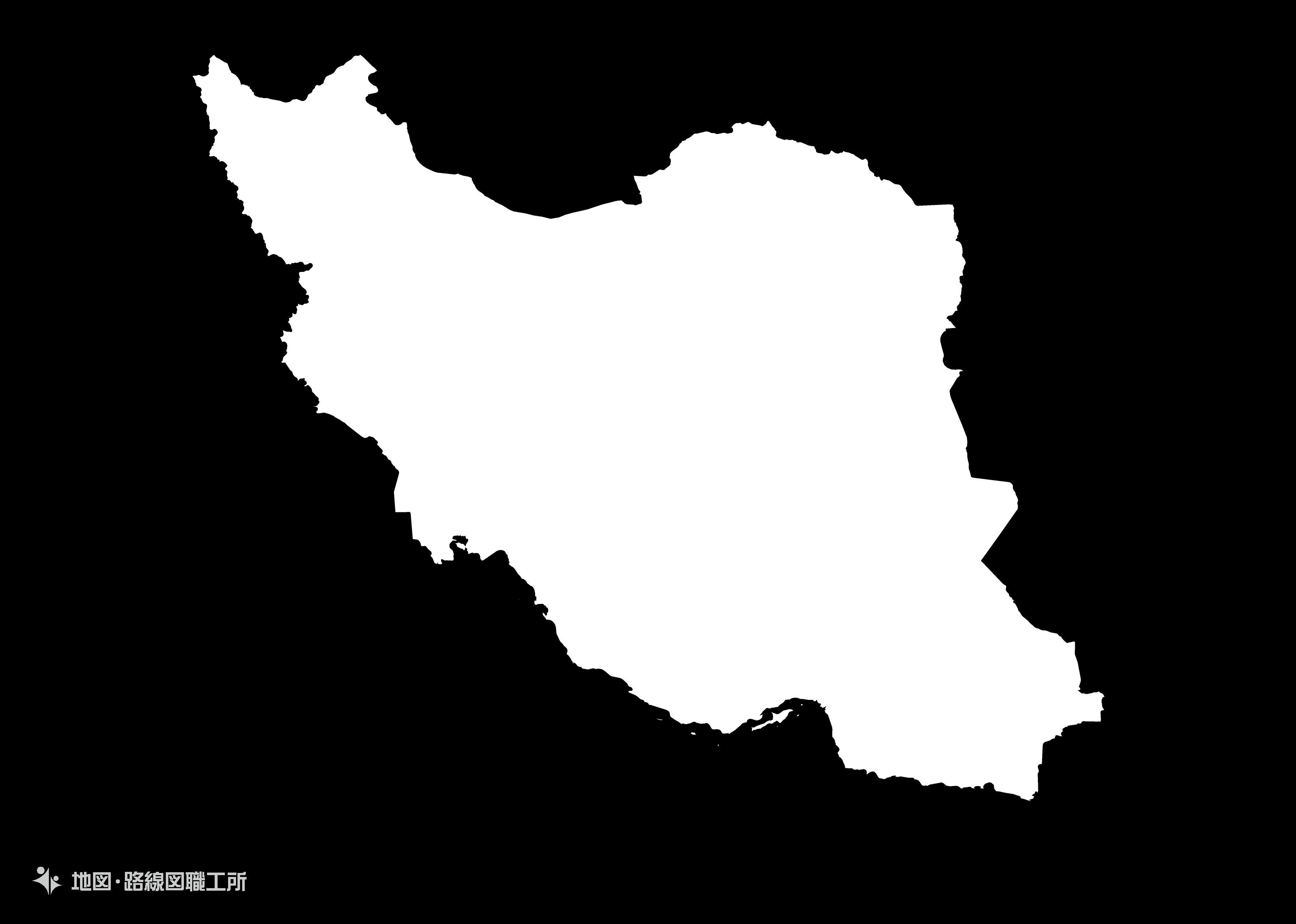 世界の白地図 イラン・イスラム共和国 islamic-republic-of-iran map