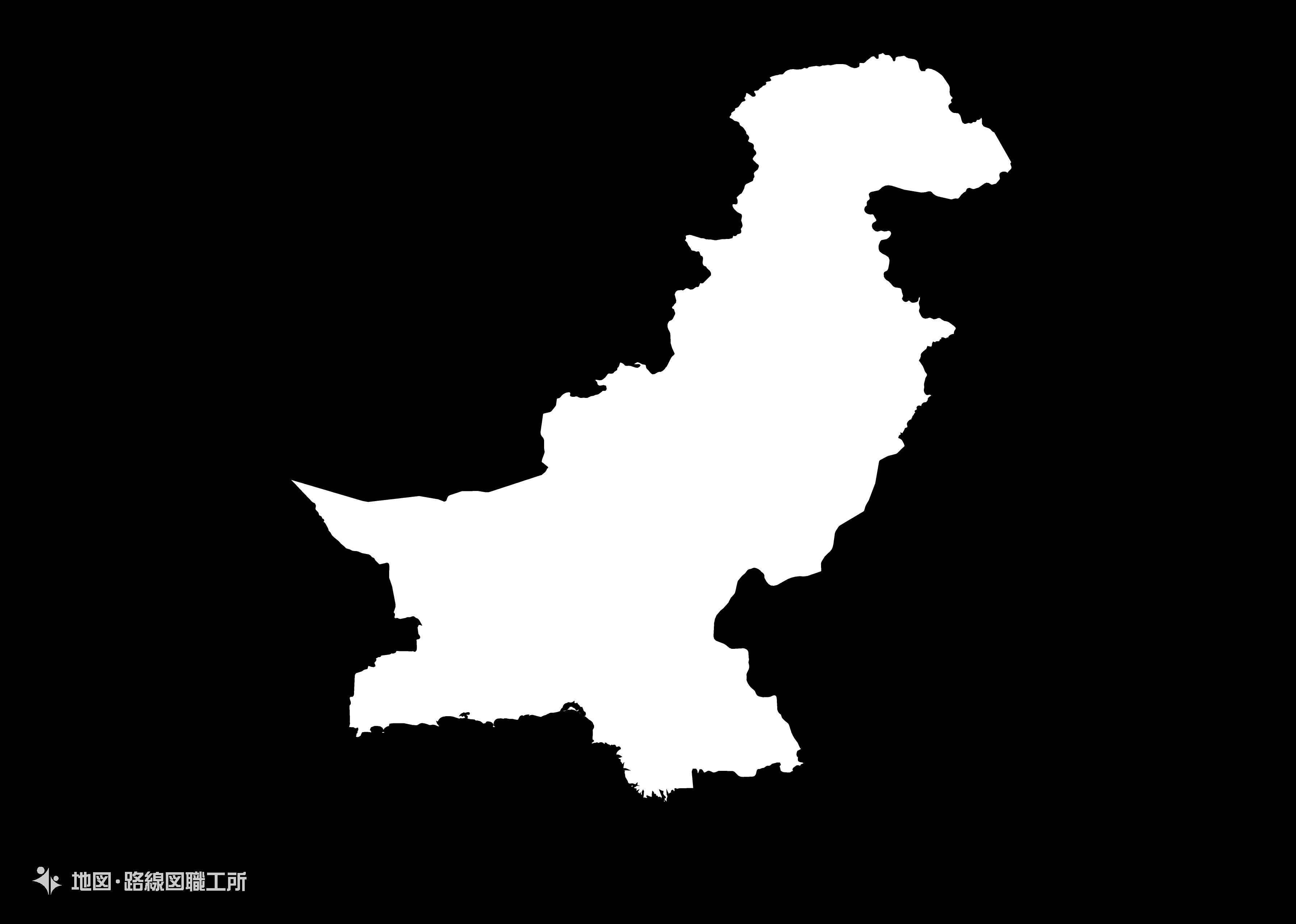 世界の白地図 パキスタン・イスラム共和国 islamic-republic-of-pakistan map