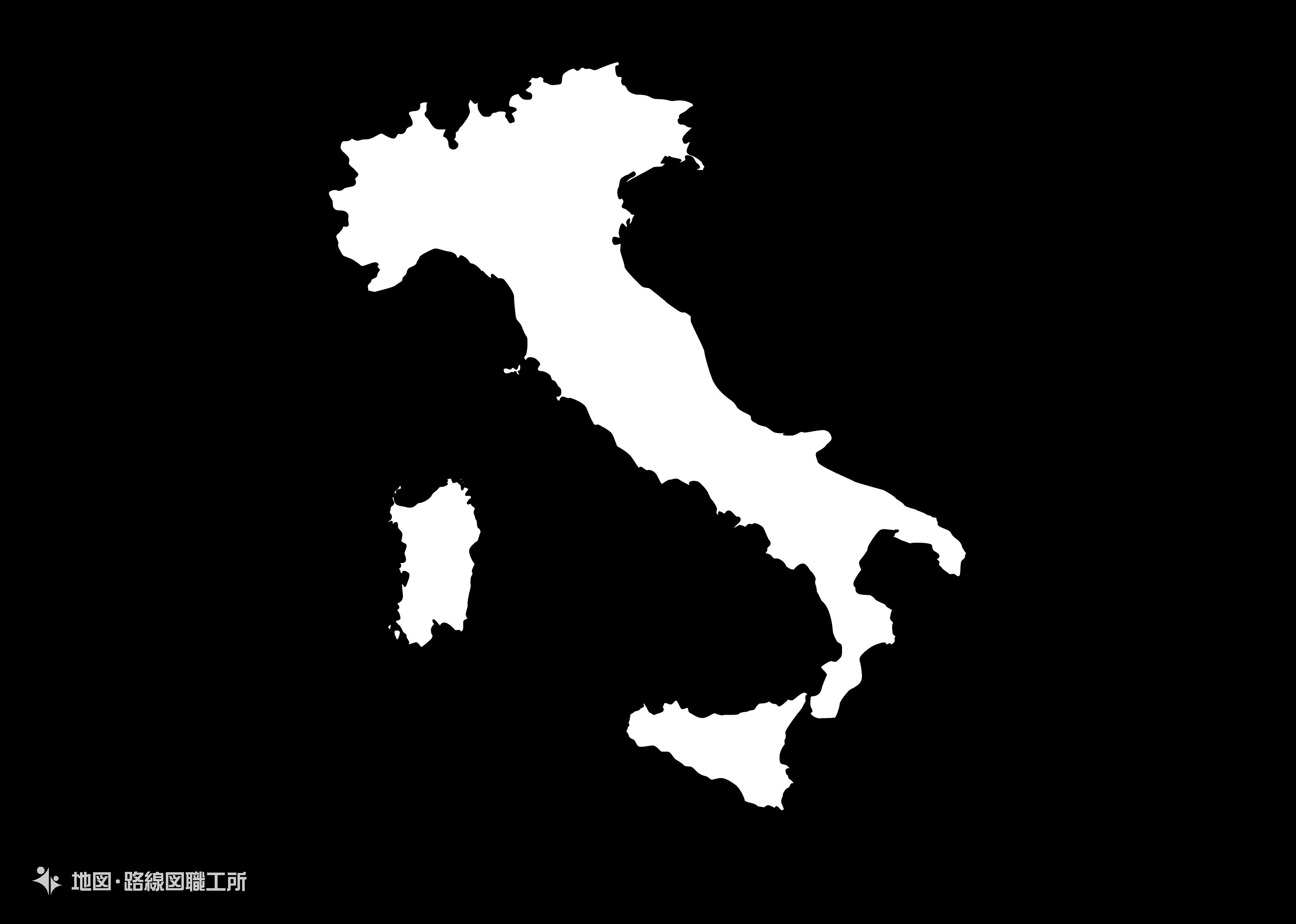 世界の白地図 イタリア共和国 italian-republic map