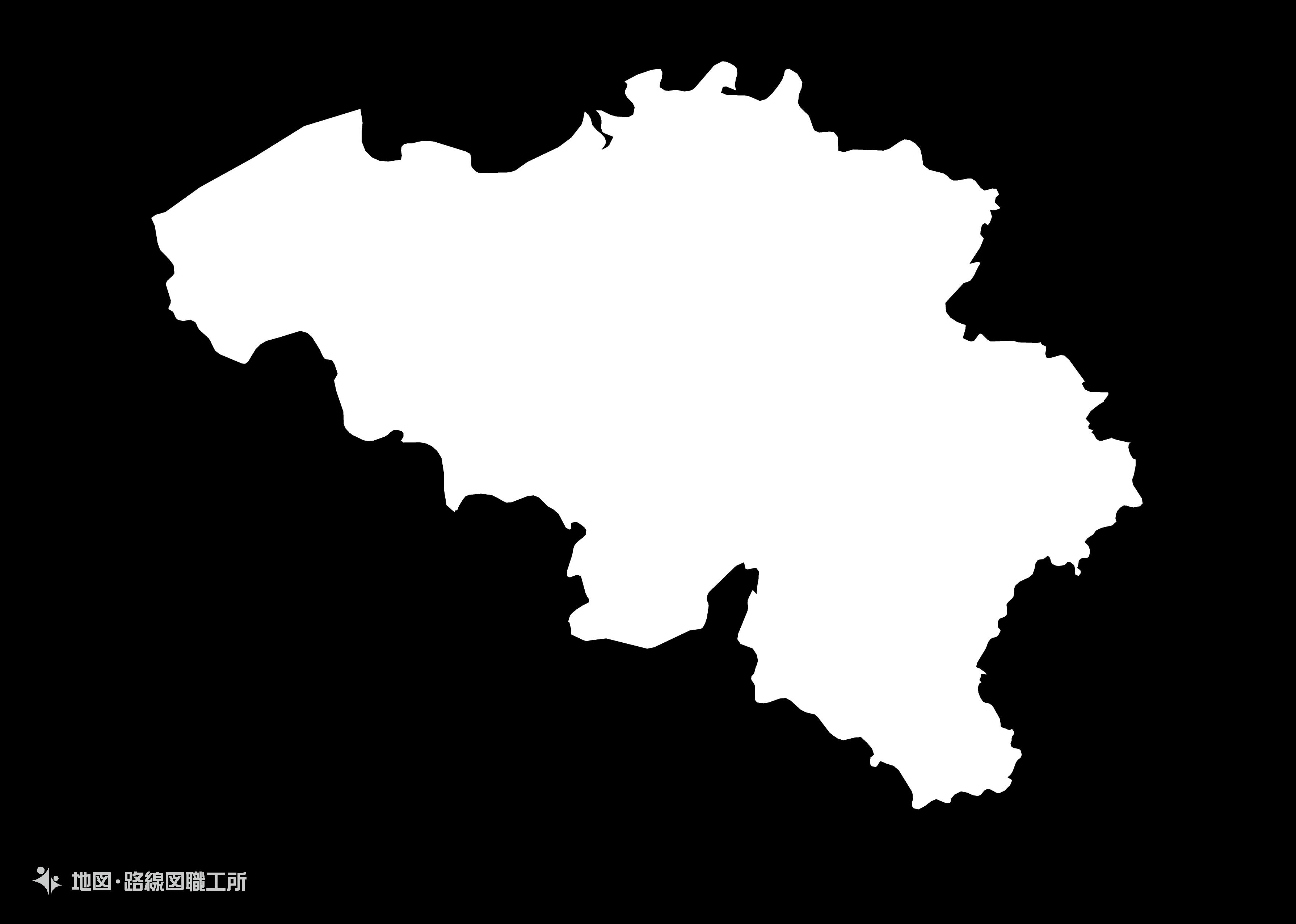 世界の白地図 ベルギー王国 kingdom-of-belguium map