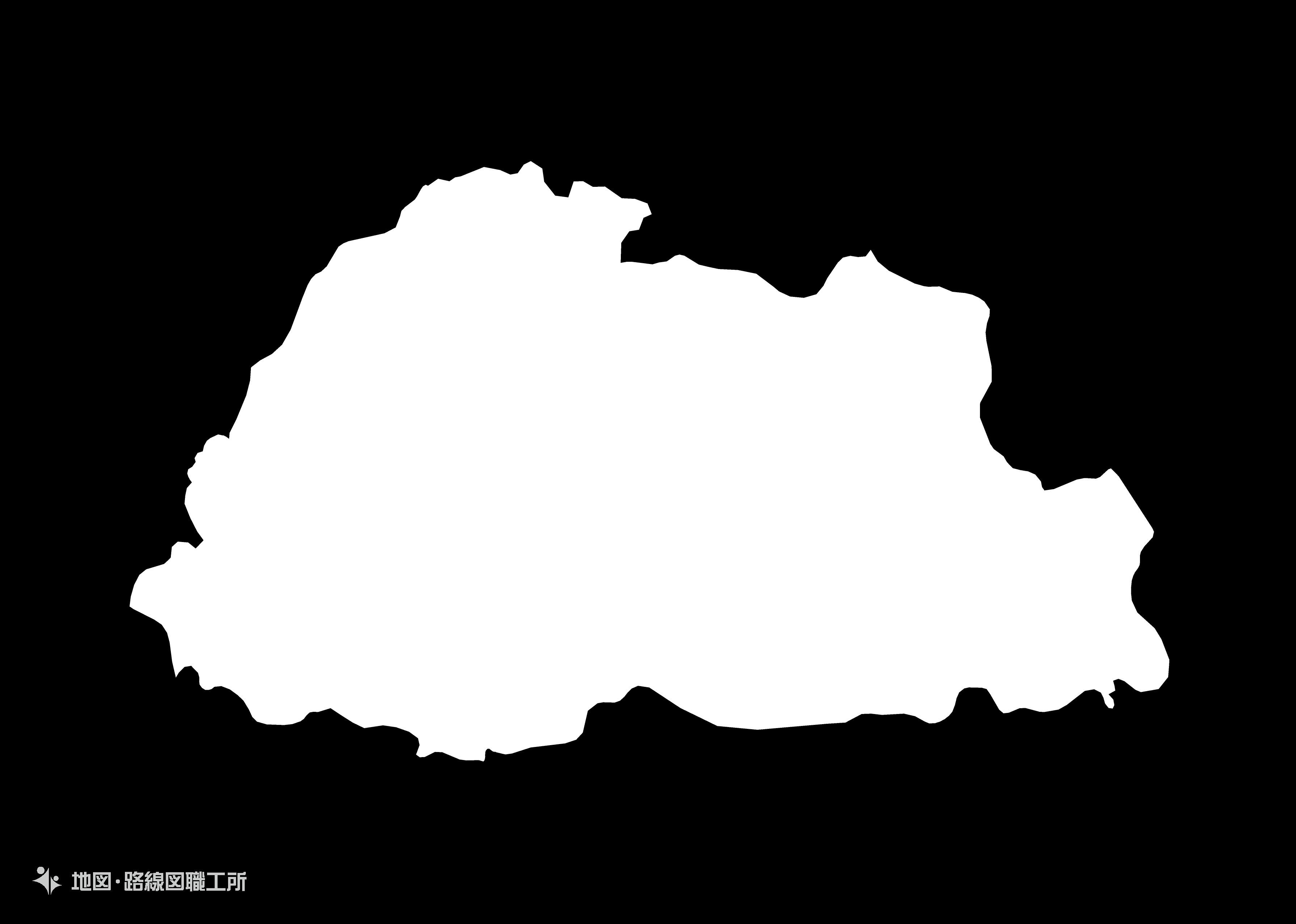 世界の白地図 ブータン王国 kingdom-of-bhutan map
