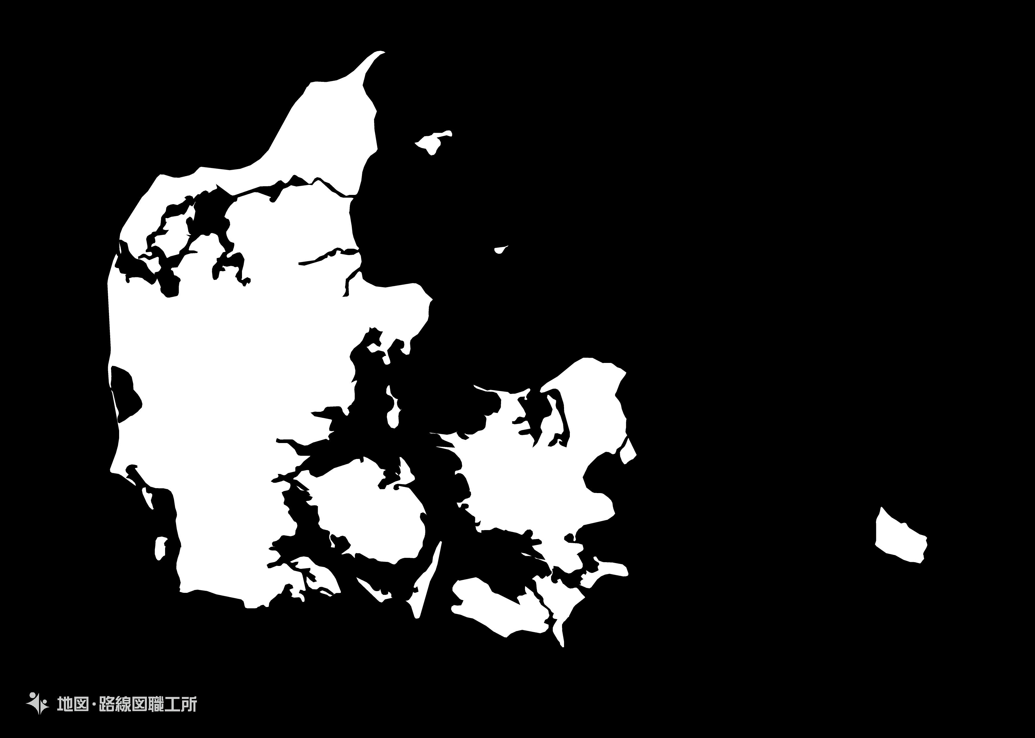 世界の白地図 デンマーク王国 kingdom-of-denmark map