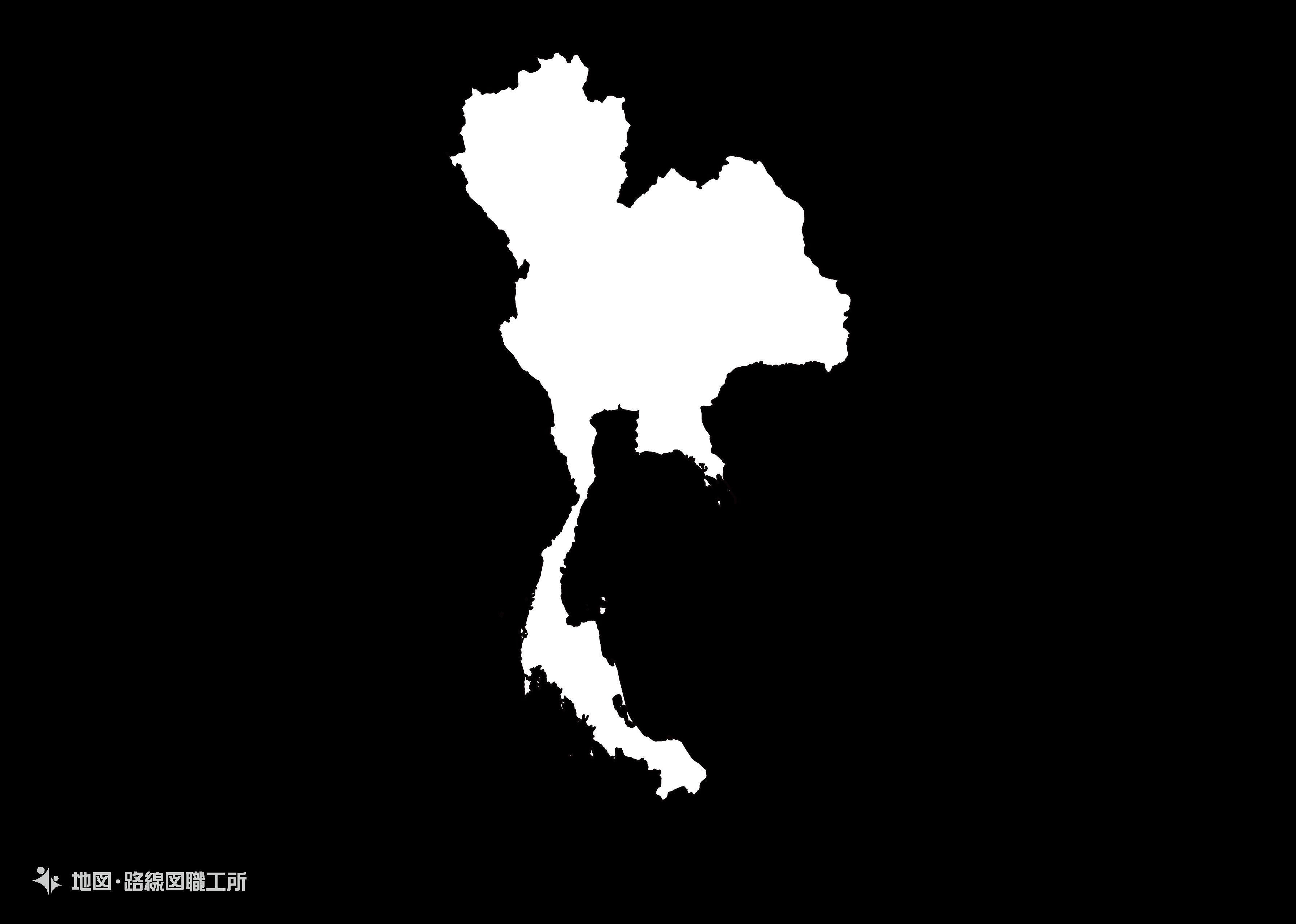 世界の白地図 タイ王国 kingdom-of-thailand map