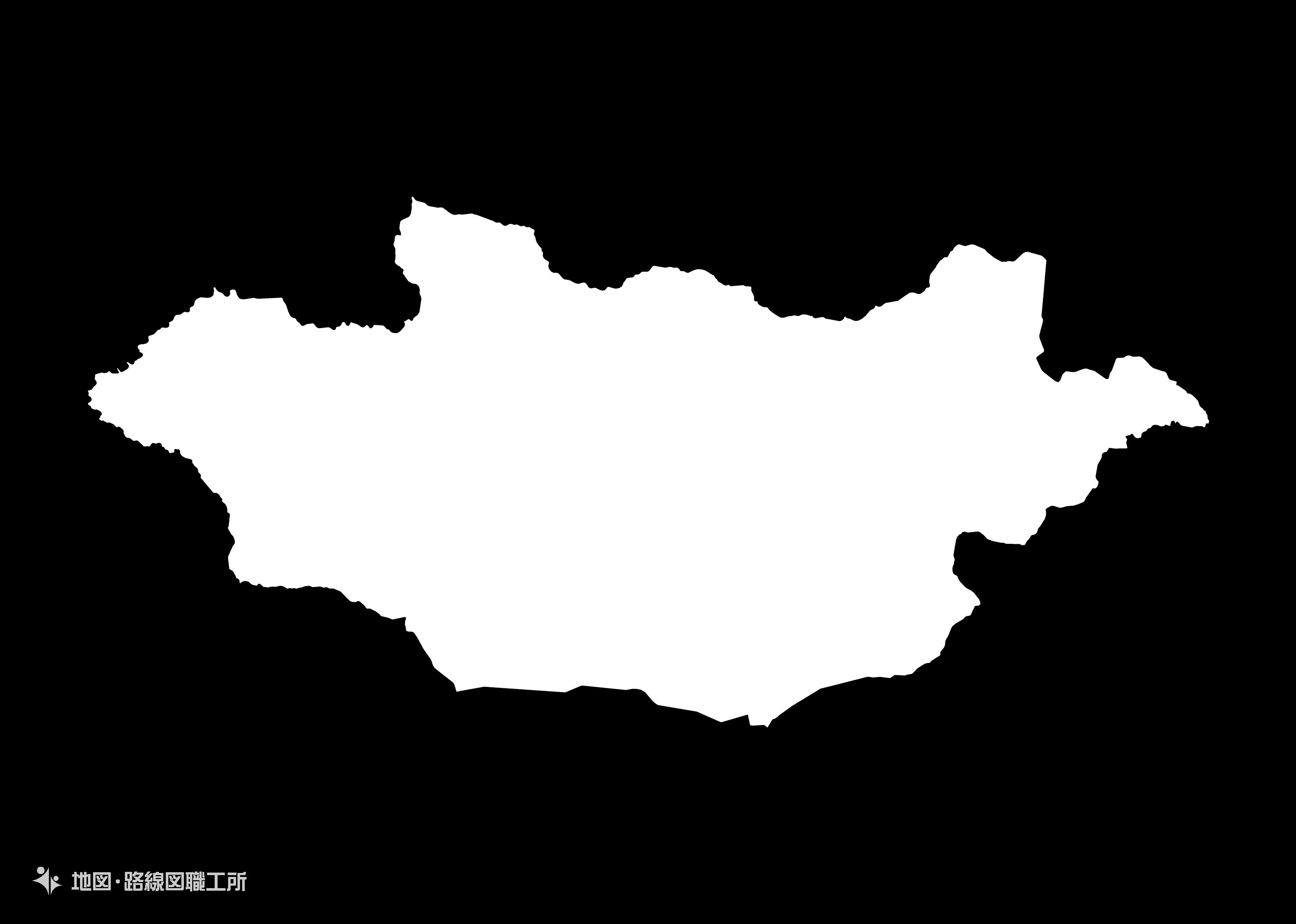 世界の白地図 モンゴル国 mongolia map