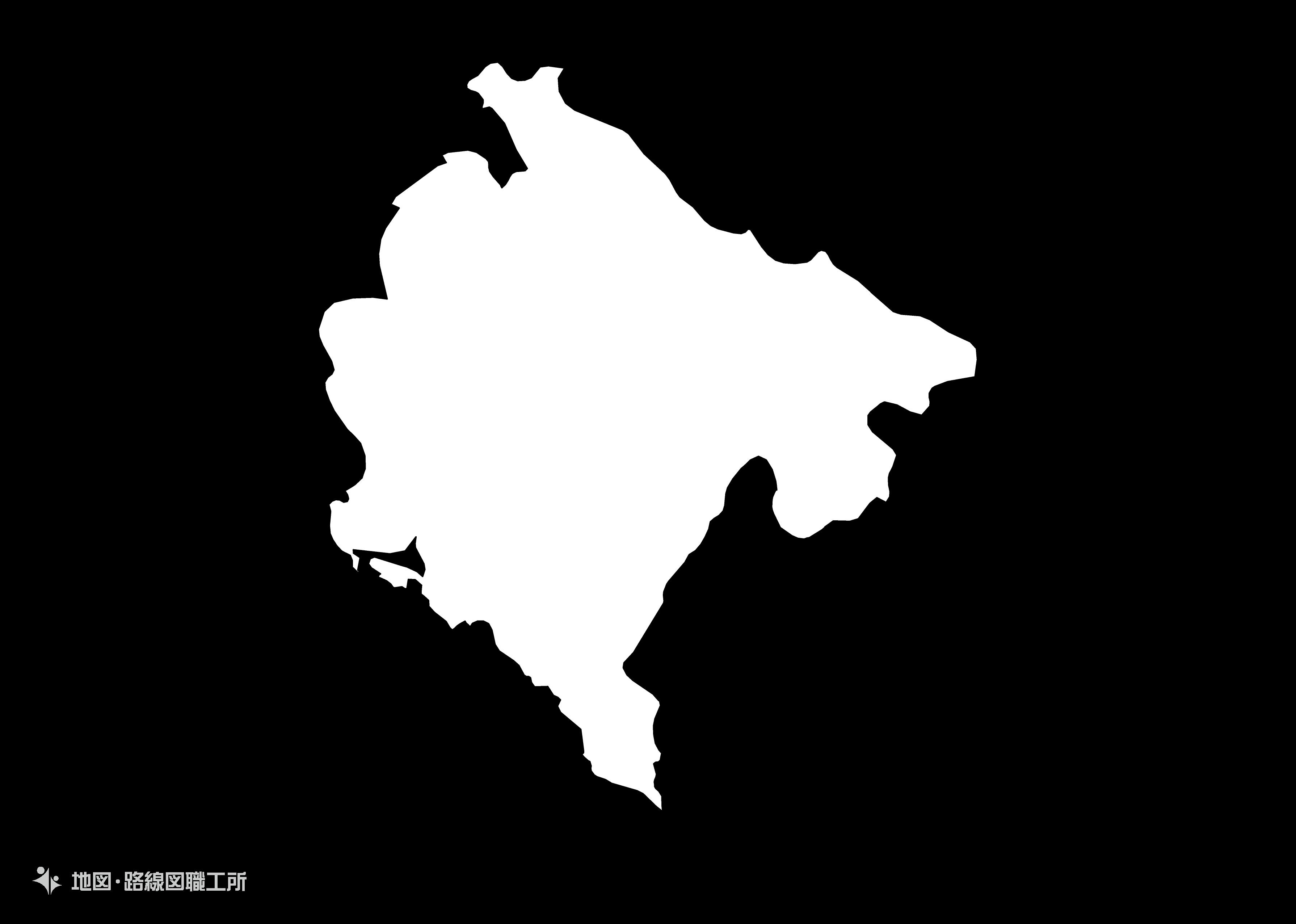 世界の白地図 モンテネグロ montenegro map