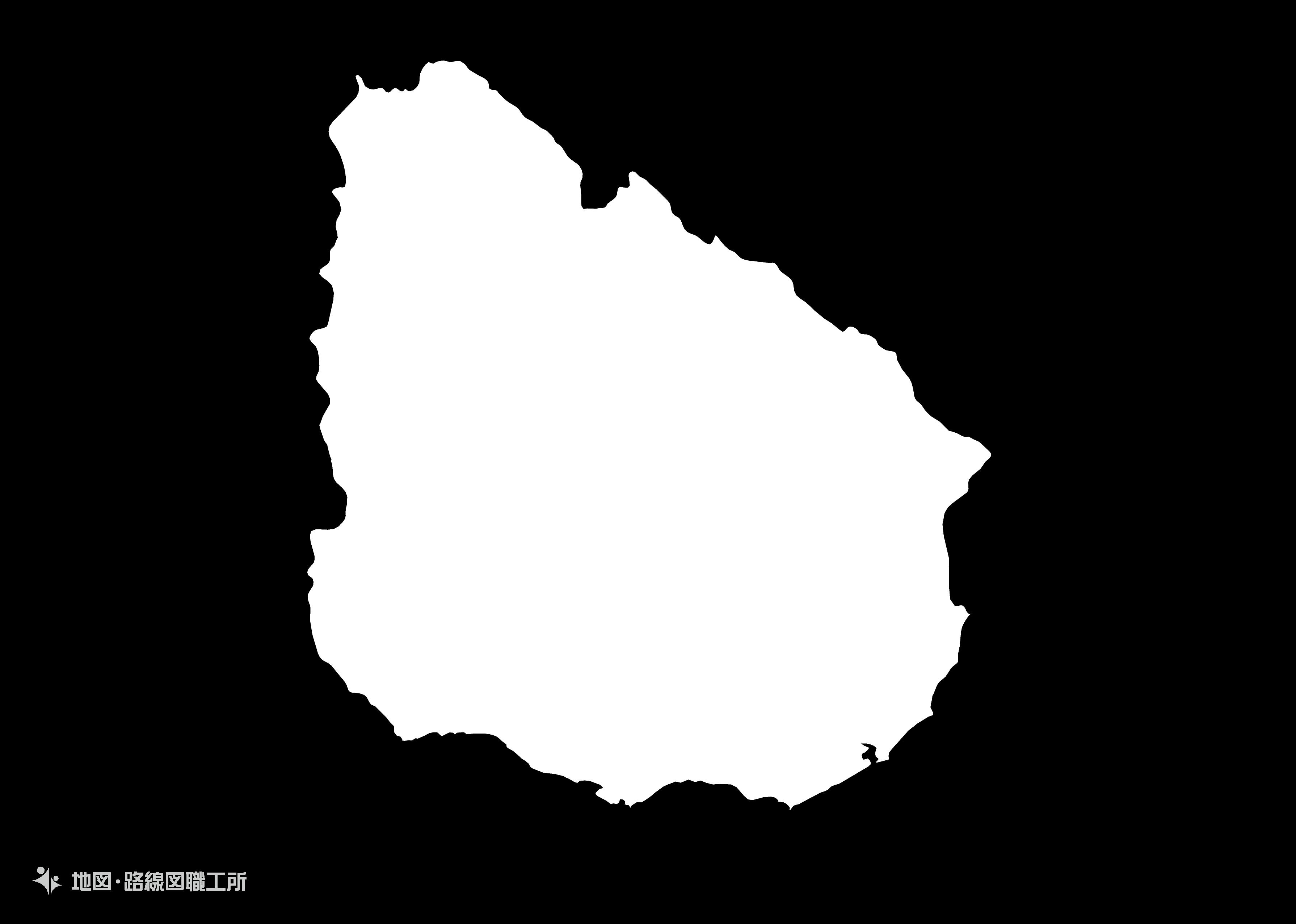 世界の白地図 ウルグアイ東方共和国 oriental-republic-of-uruguay map