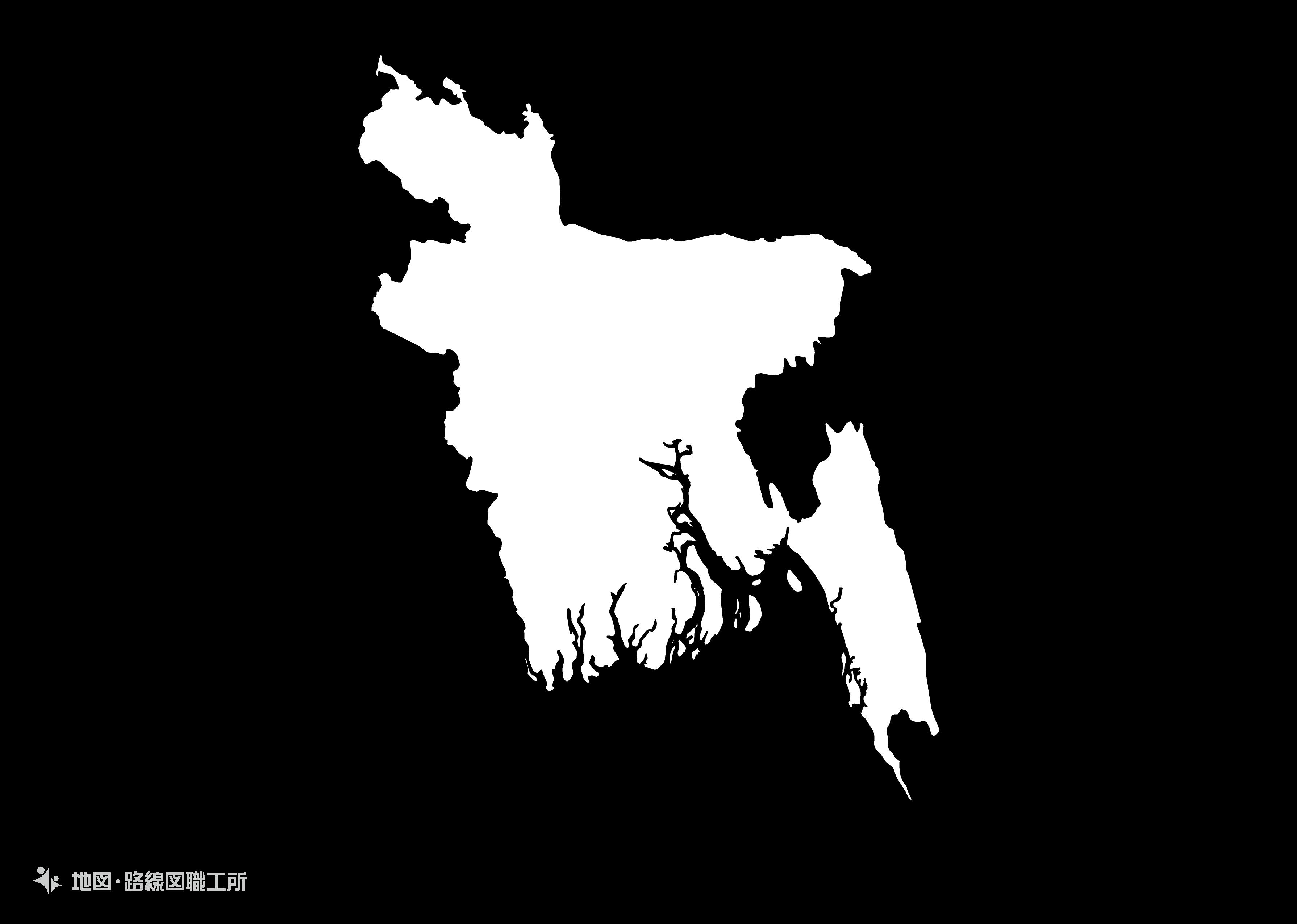 世界の白地図 バングラディシュ人民共和国 peoples-republic-of-bangladesh map