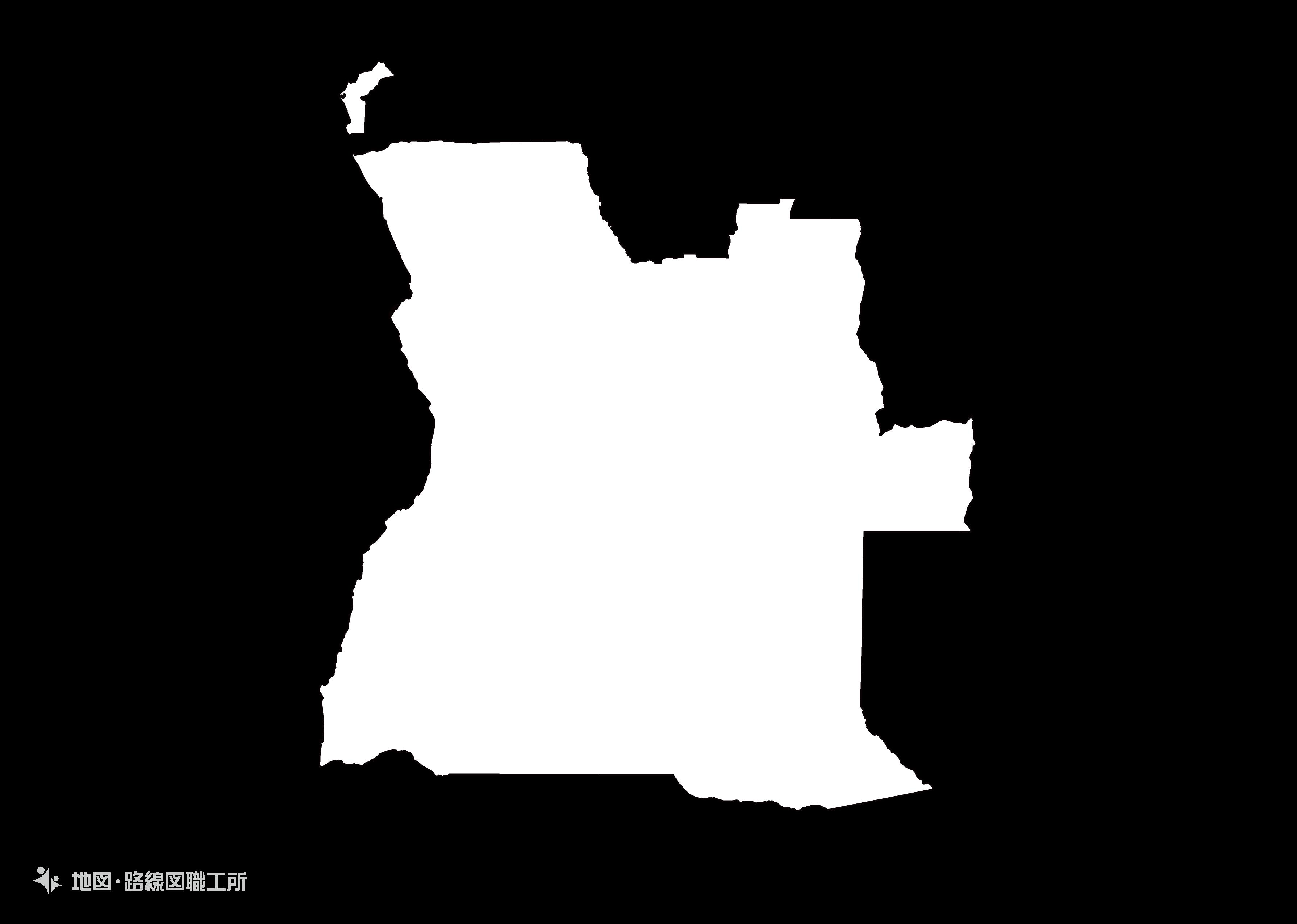 世界の白地図 アンゴラ共和国 republic-of-angola map