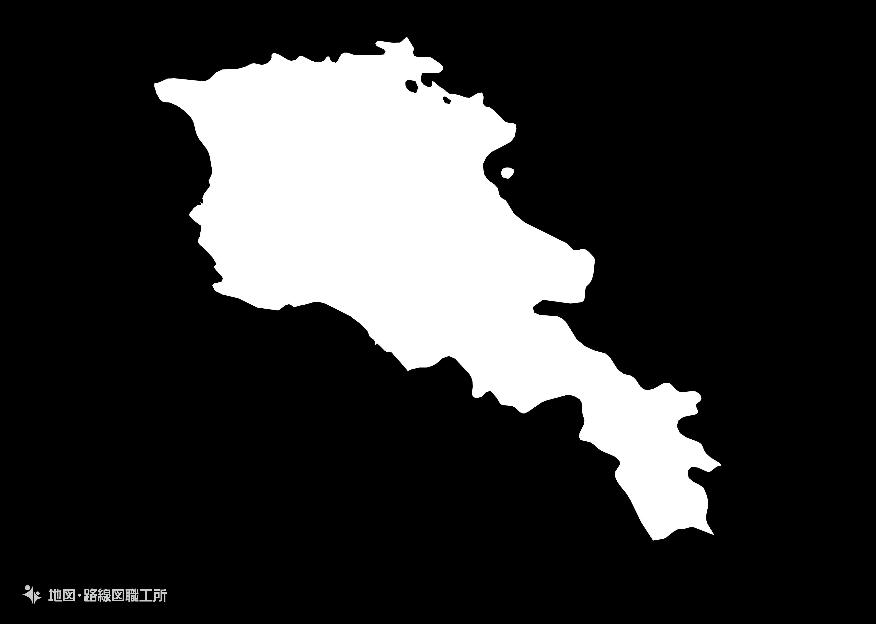 世界の白地図 アルメニア共和国 republic-of-armania map