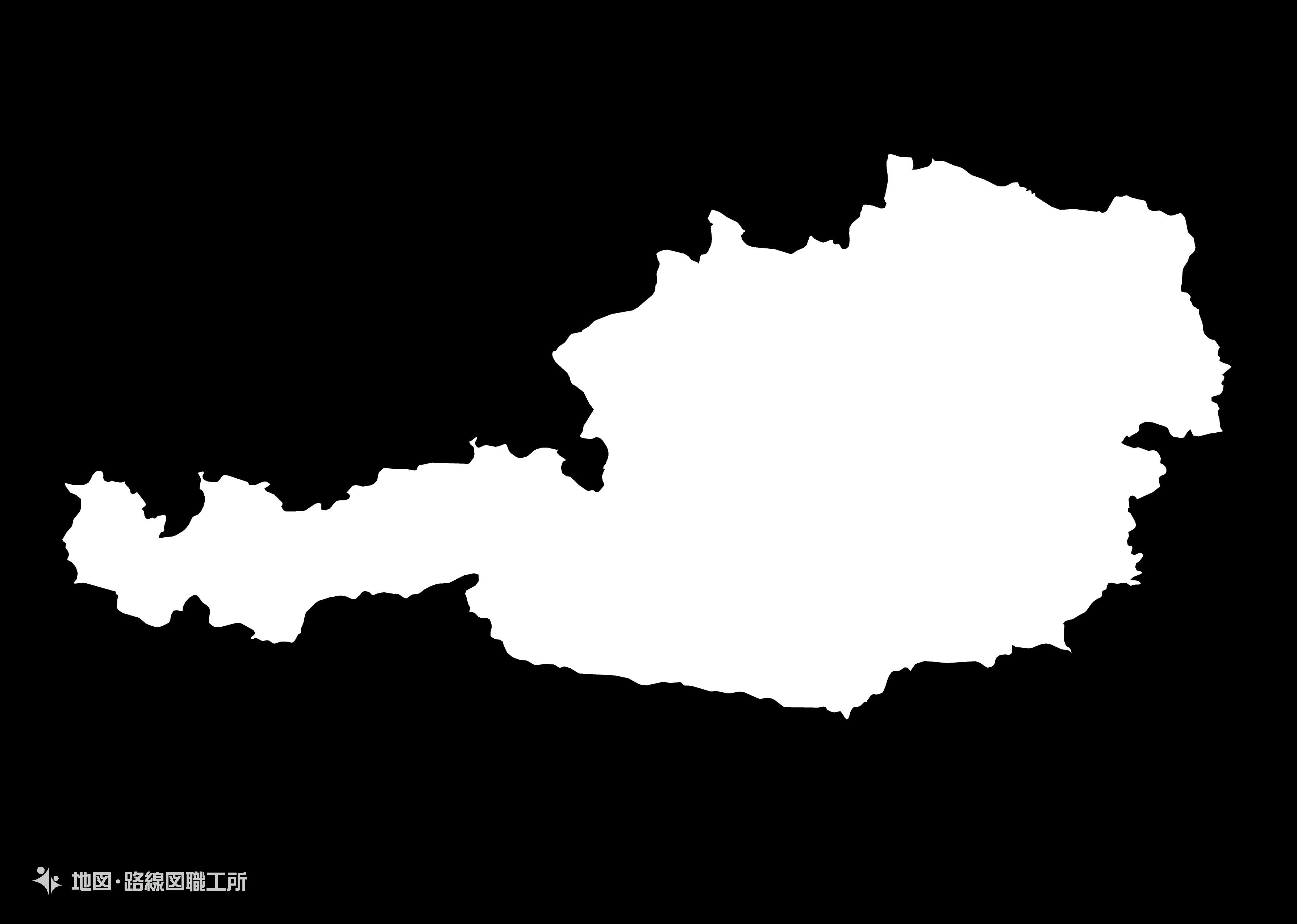 世界の白地図 オーストリア共和国 republic-of-austria map